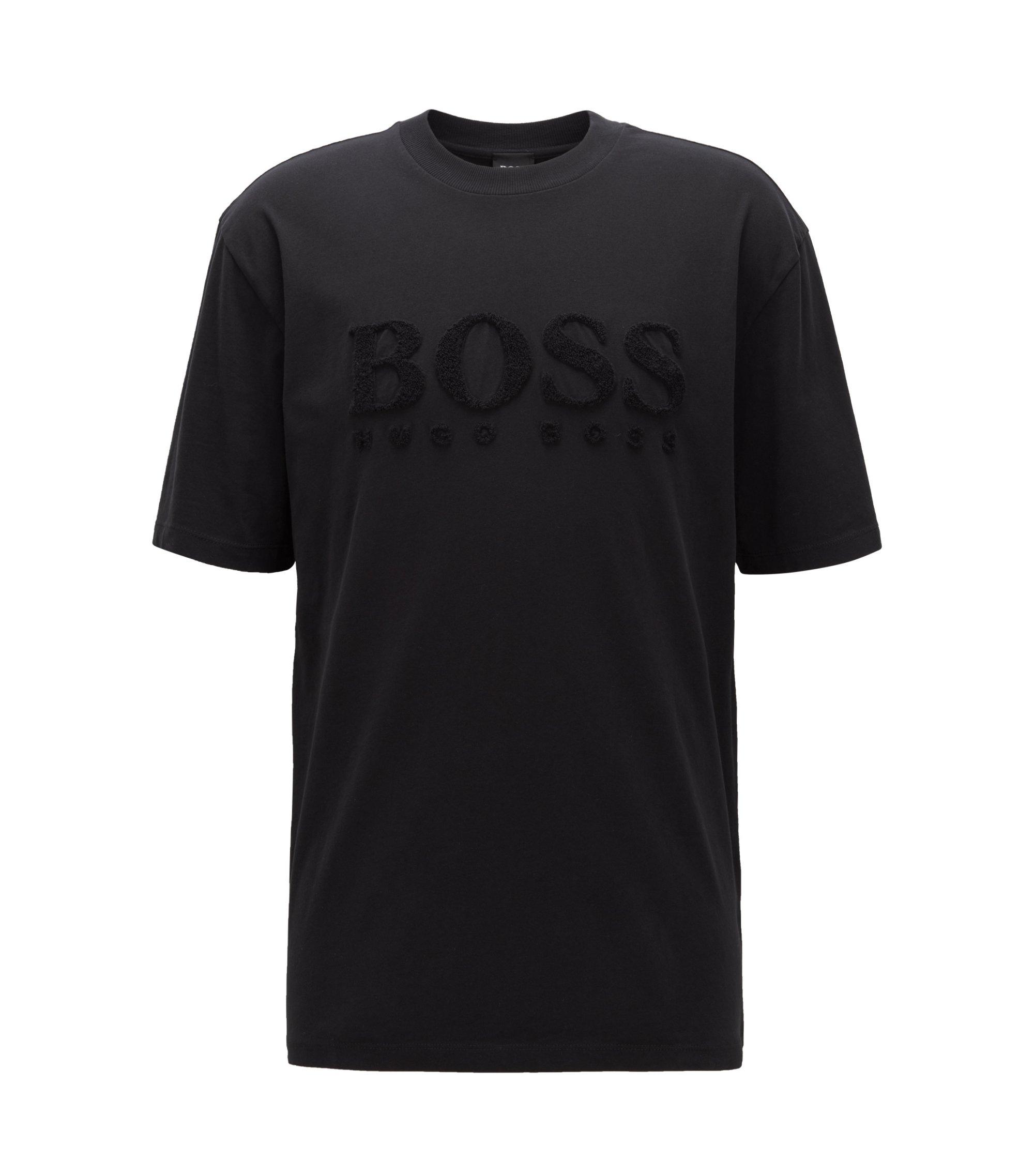 Camiseta de cuello redondo en punto sencillo de algodón cepillado, Negro