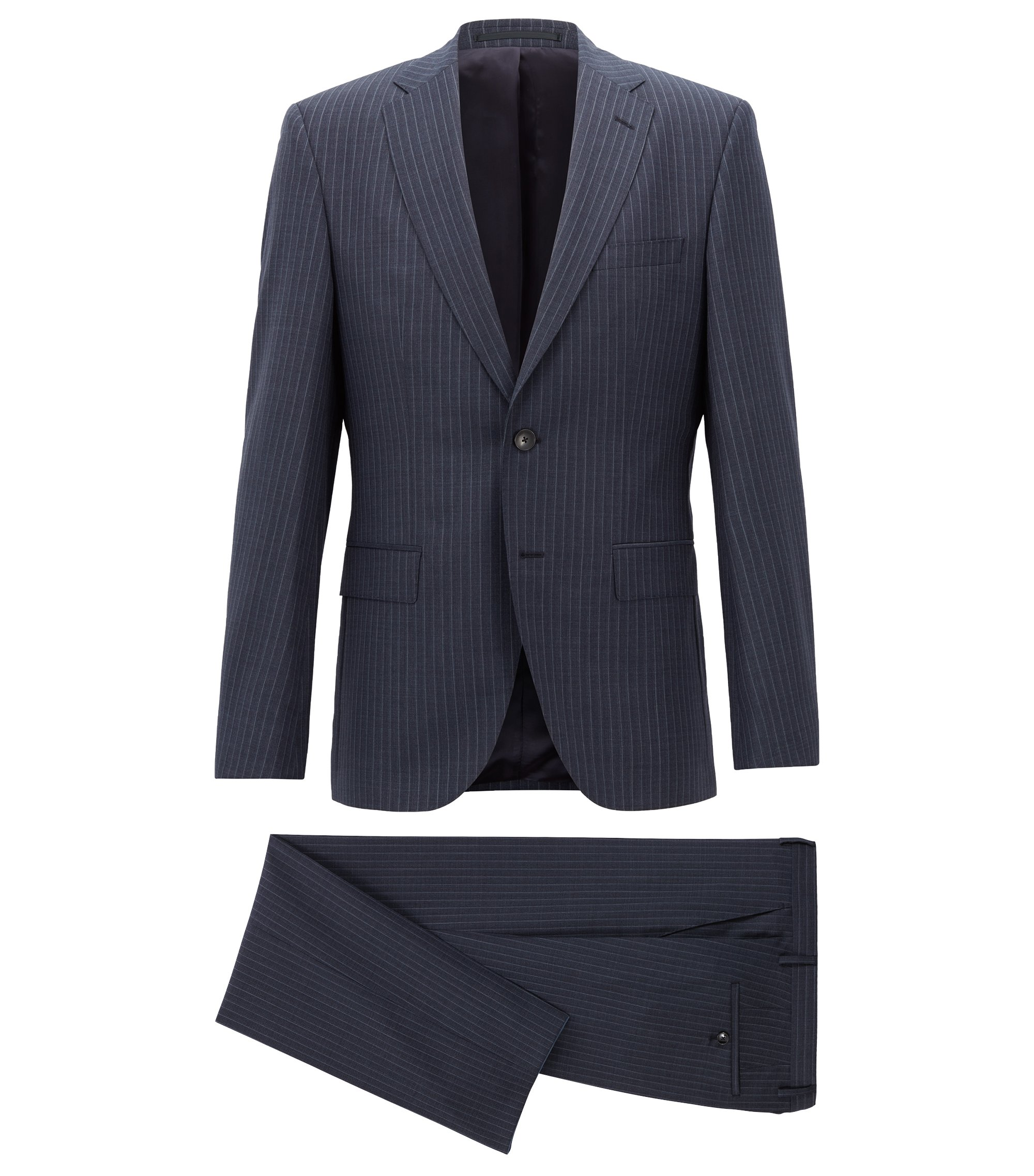 Regular-fit suit in virgin wool with vertical stripe, Dark Blue