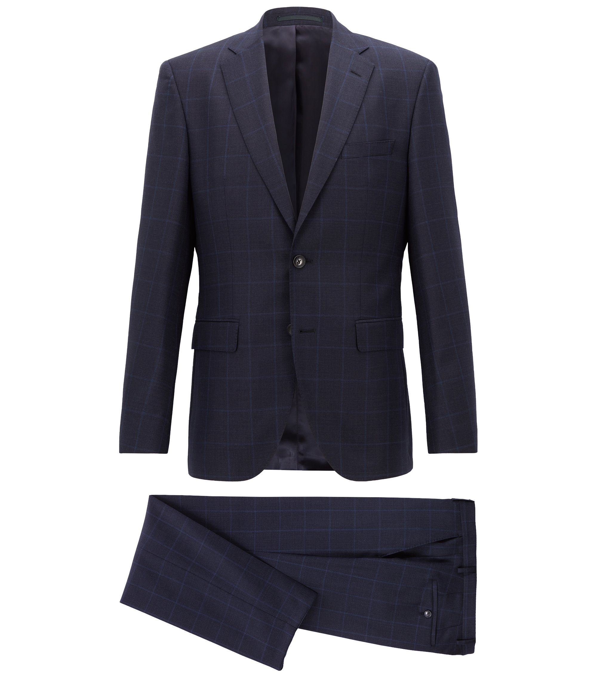 Regular-fit suit in checked virgin wool serge, Dark Blue
