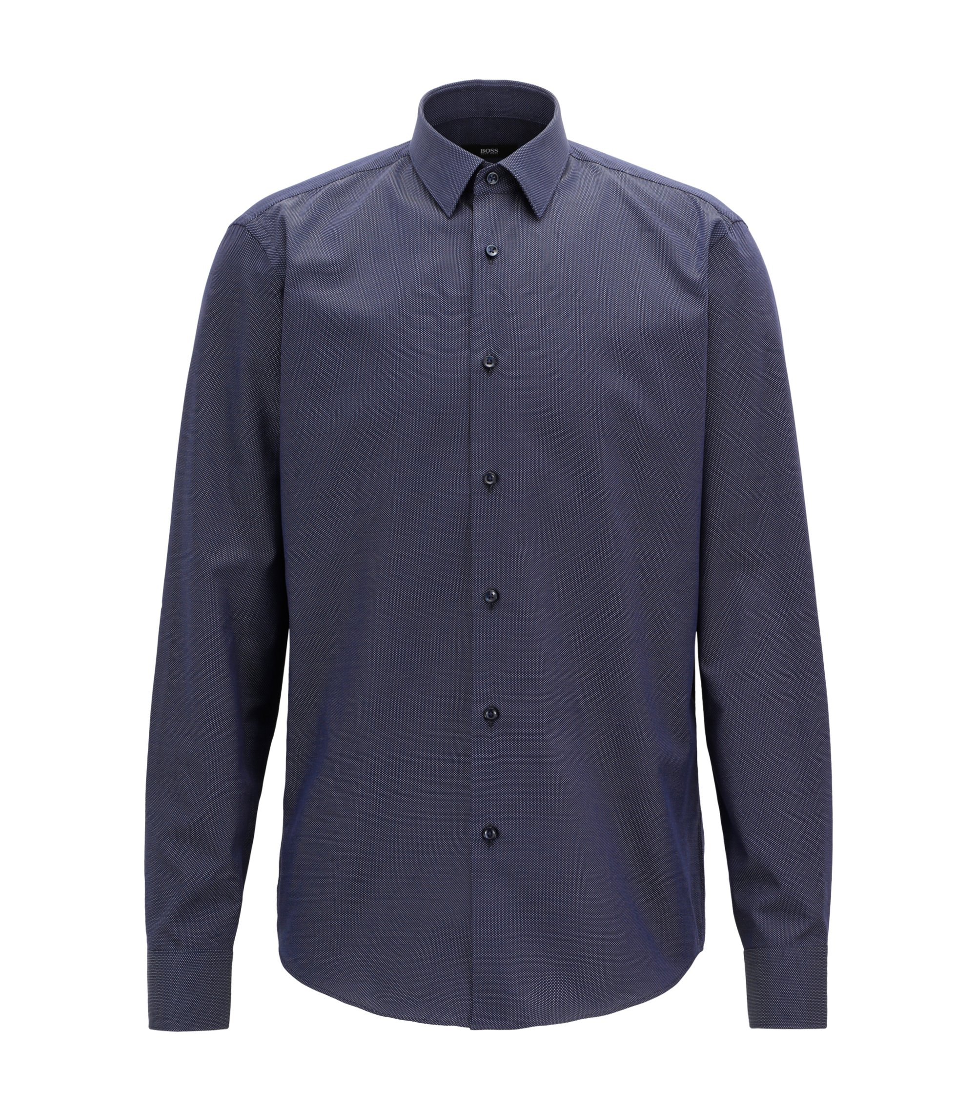 Regular-fit shirt in Italian cotton with dot motif, Dark Blue