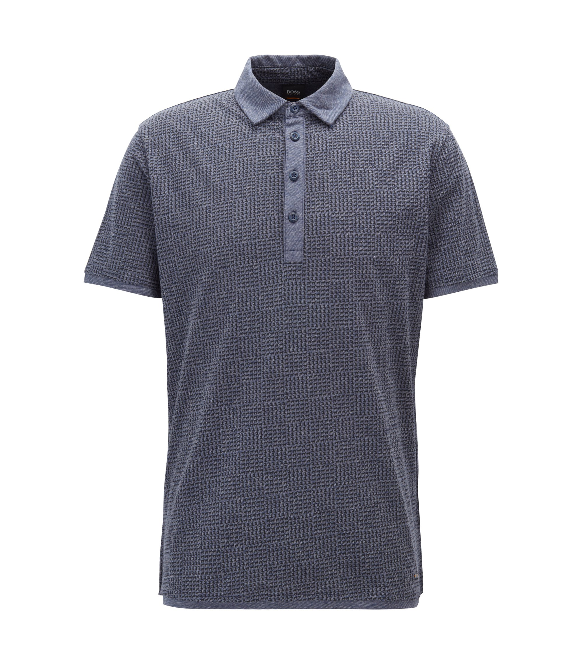 Polo shirt in melange jersey cotton with collection print, Blue