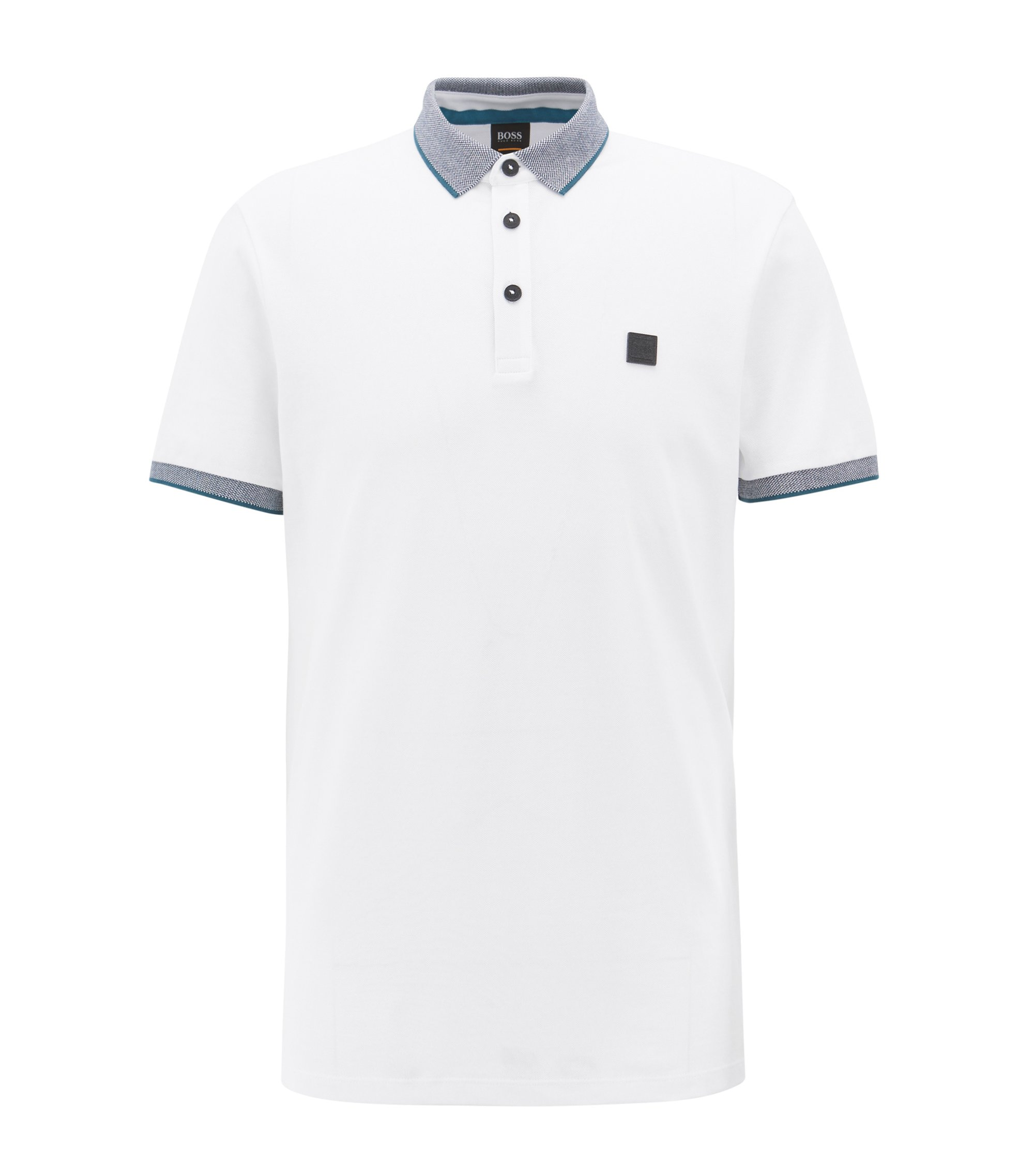Polo Relaxed Fit rehaussé de liserés contrastants, Blanc