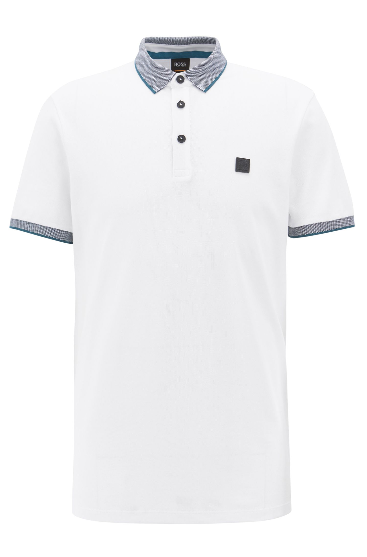 Polo relaxed fit con rifiniture con nastro a contrasto, Bianco