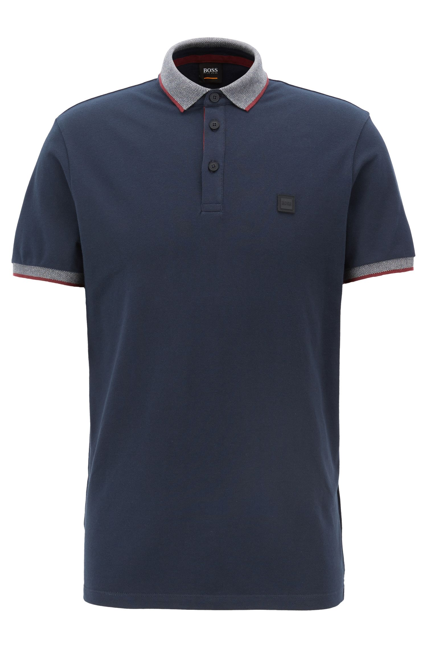 Relaxed-fit polo met contrasterende biesdecoraties, Donkerblauw