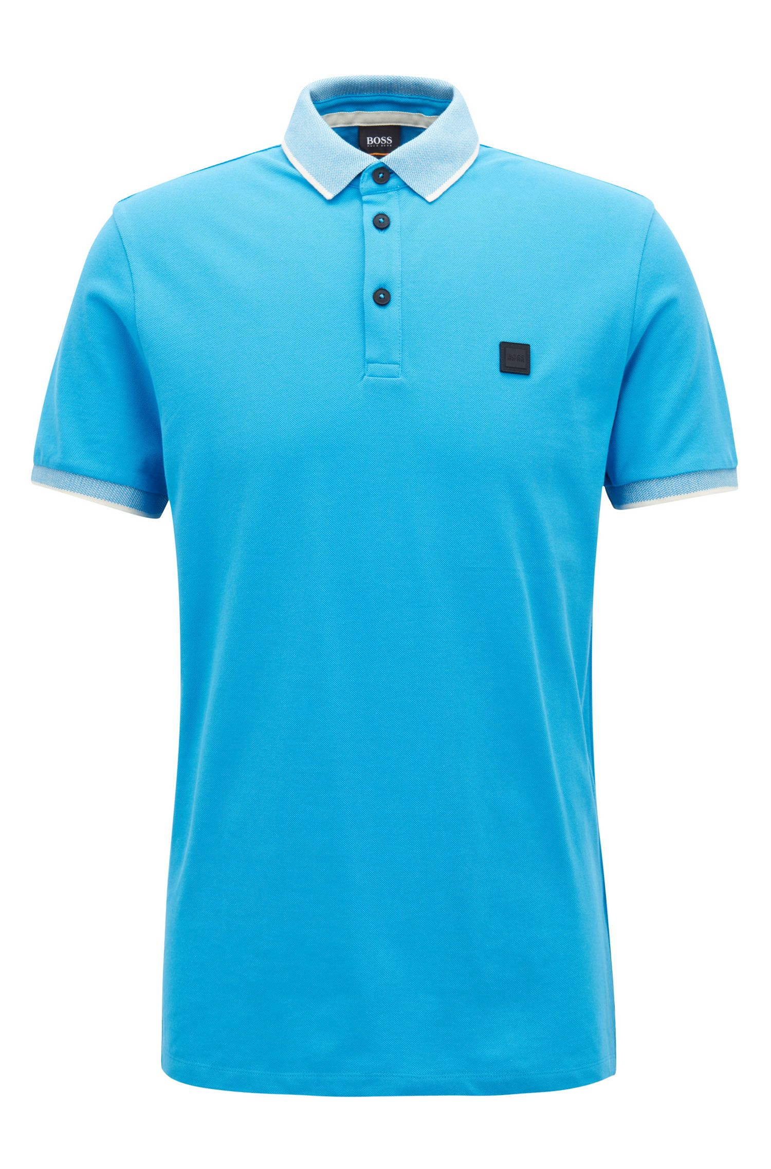 Polo Relaxed Fit rehaussé de liserés contrastants, Bleu vif