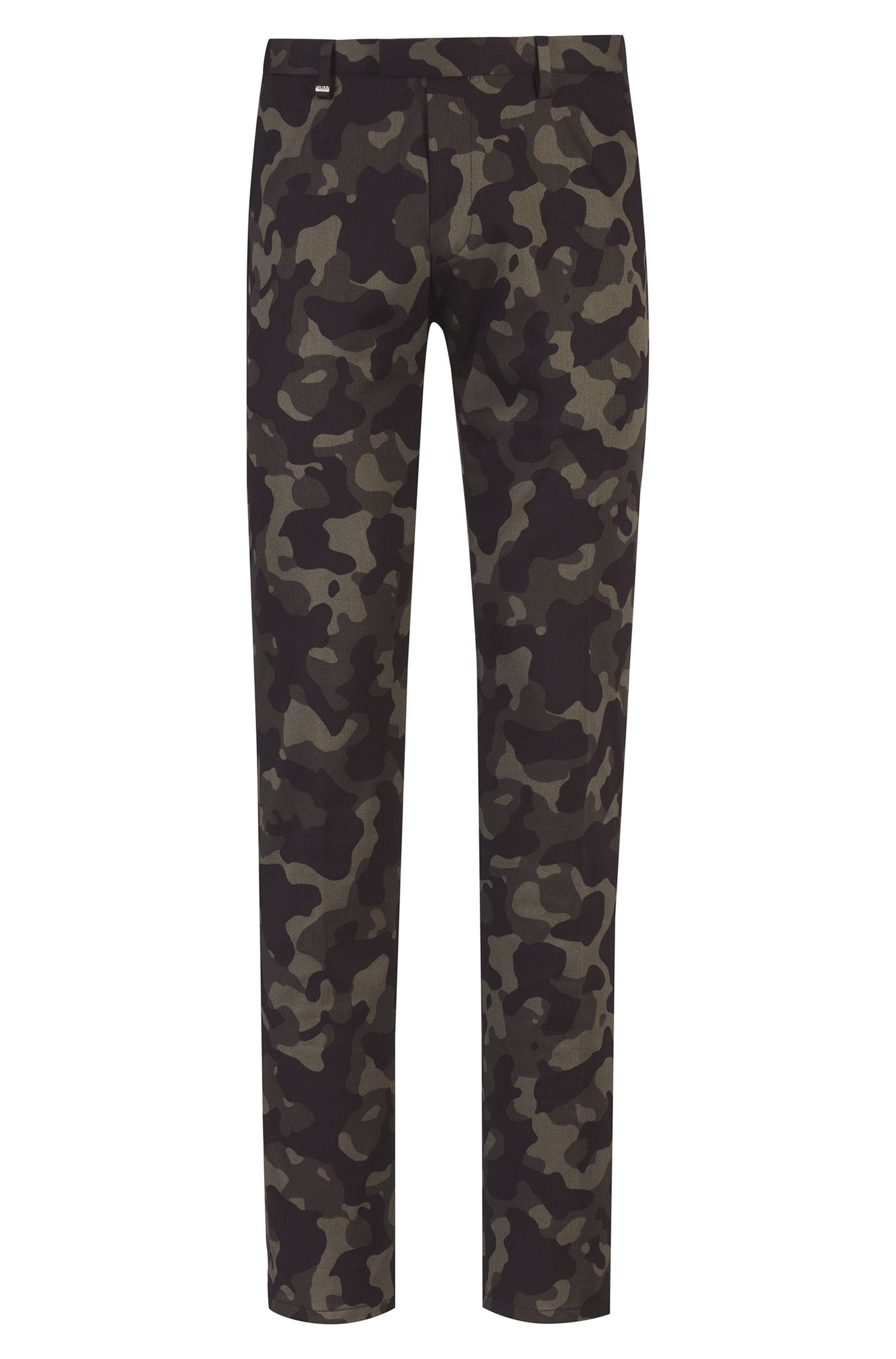 Slim-fit trousers in stretch cotton with camouflage print, Dark Green