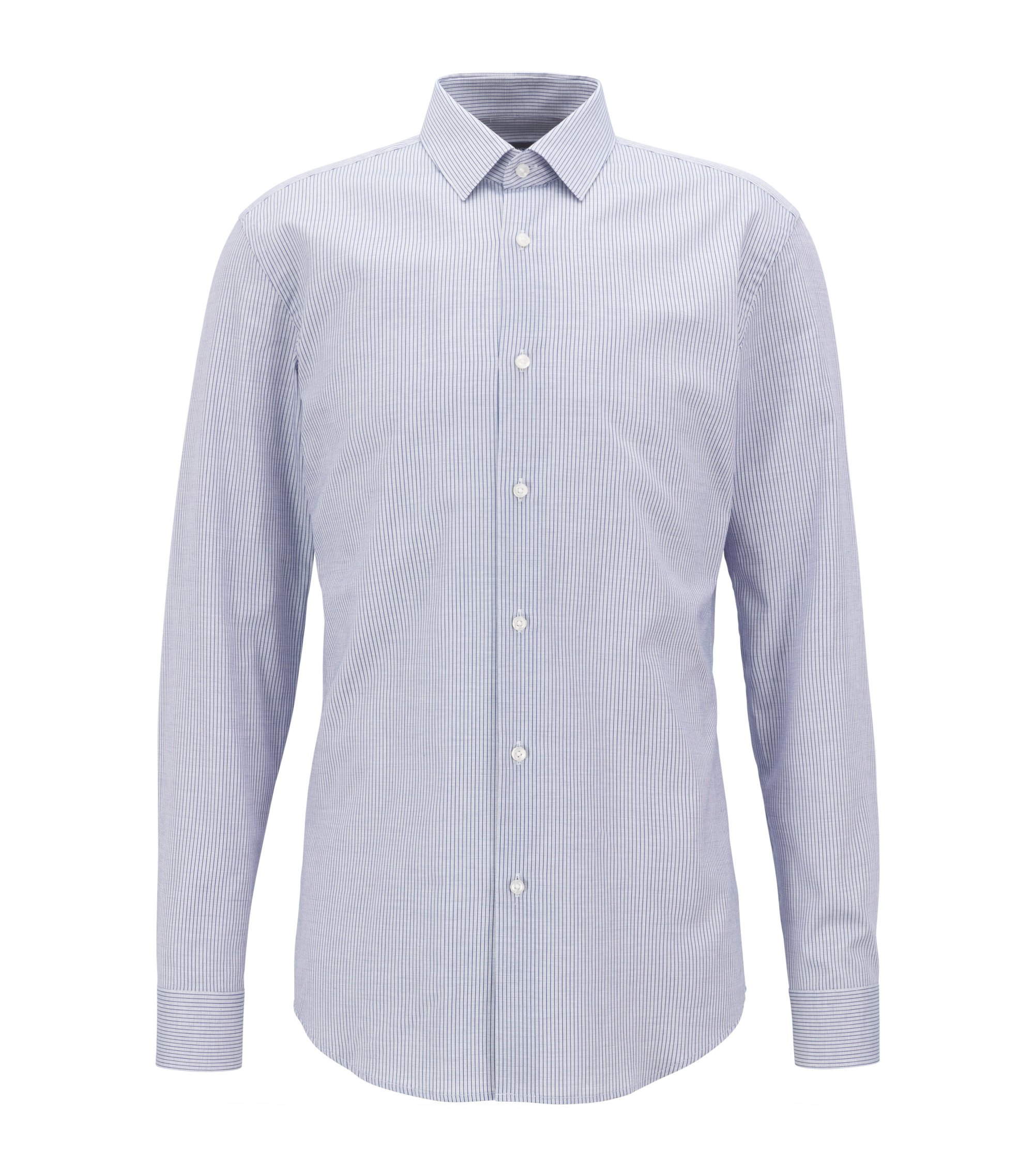 Slim-fit shirt in patterned cotton piqué , Blue