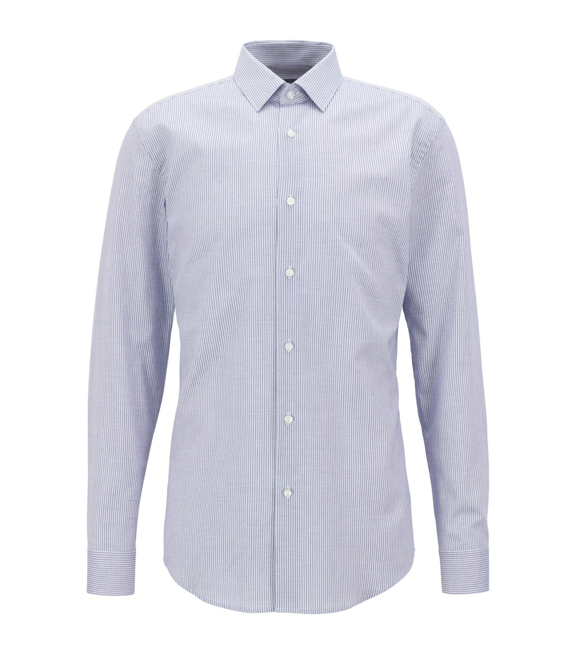 Slim-fit overhemd van katoenpiqué met dessin , Blauw
