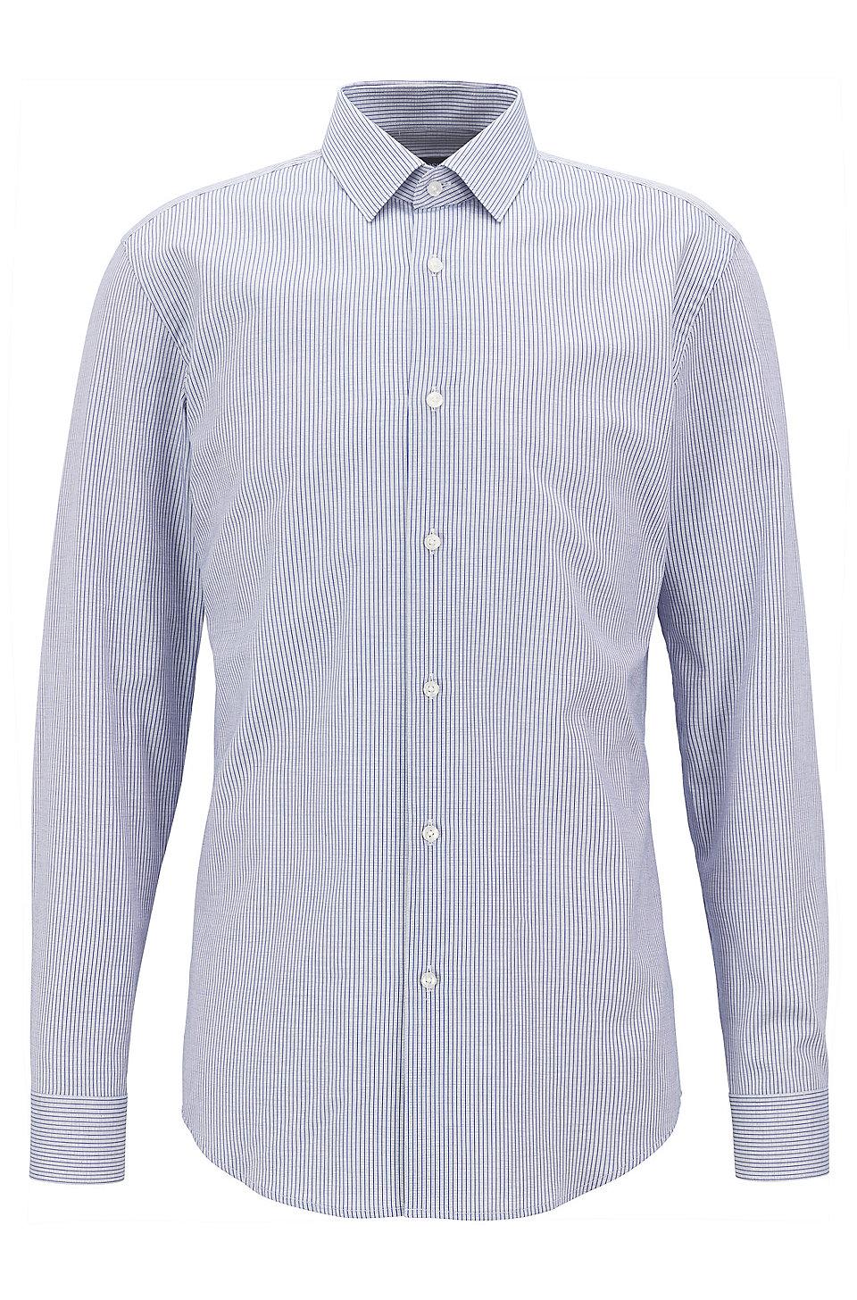 81d95533e BOSS - Slim-fit shirt in patterned cotton piqué