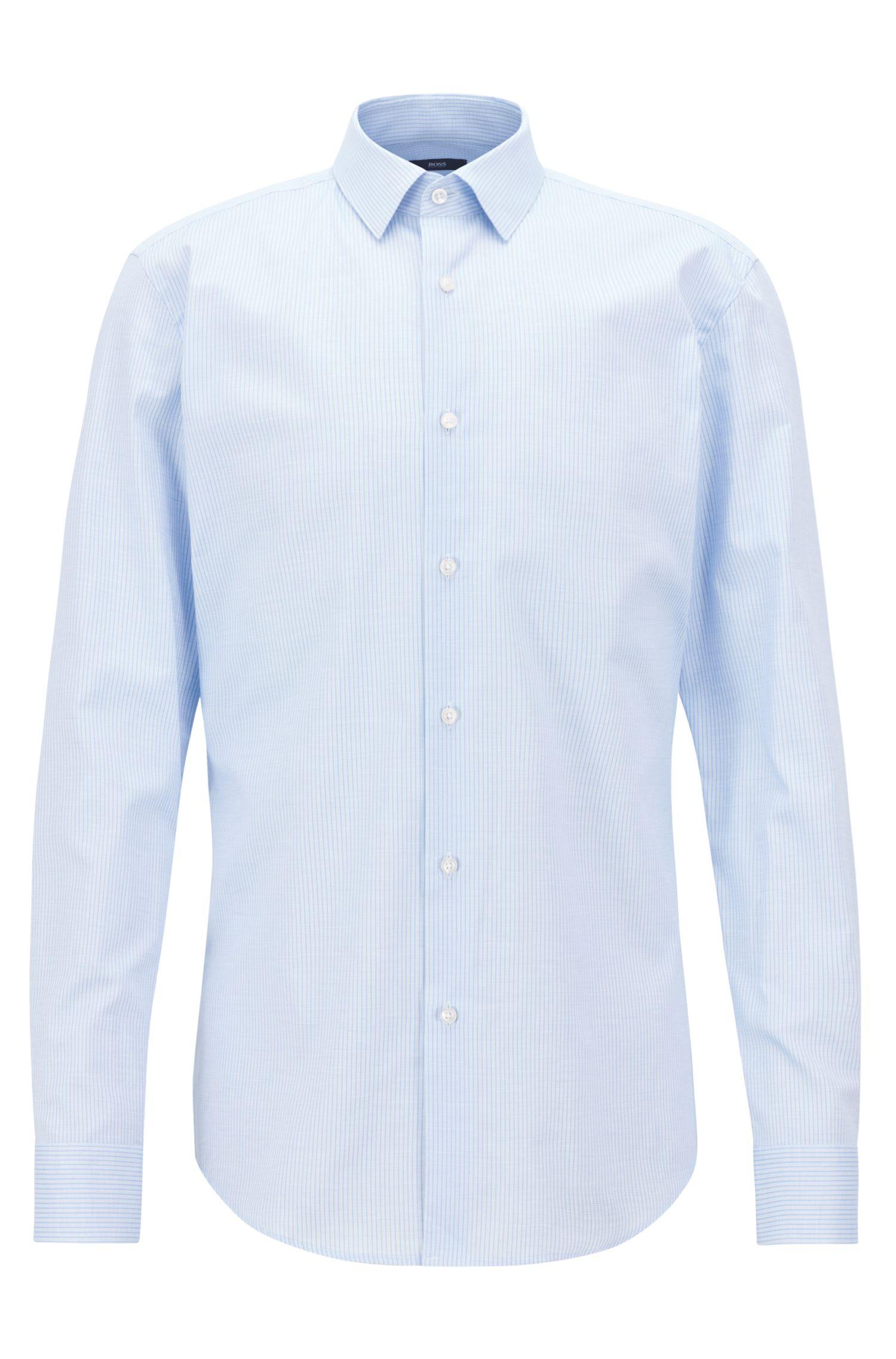 Slim-fit shirt in patterned cotton piqué , Light Blue