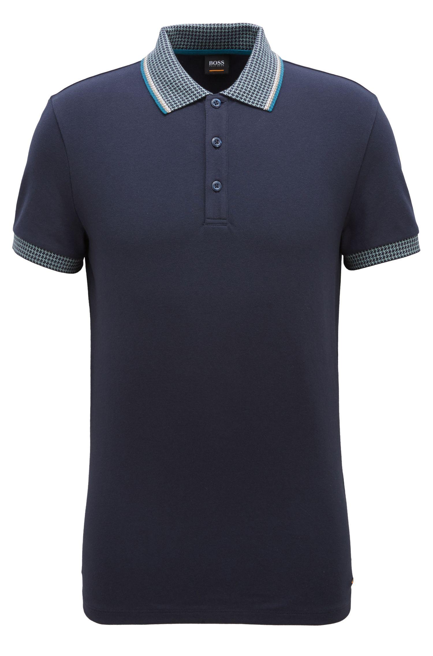 Poloshirt aus Stretch-Piqué mit Hahnentritt-Muster an Kragen und Bündchen, Dunkelblau