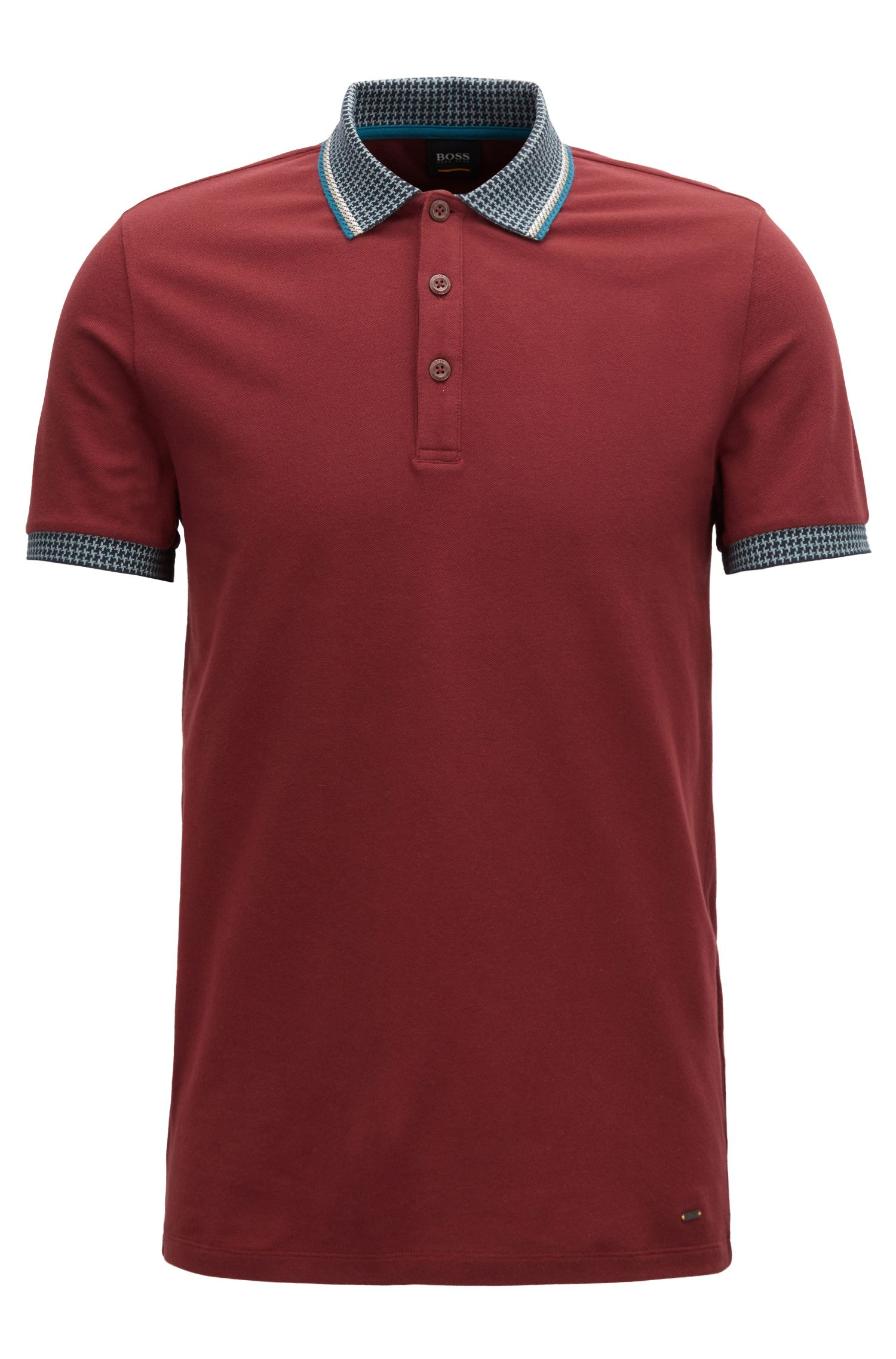 Stretch-piqué polo shirt with houndstooth collar and cuffs, Dark Red