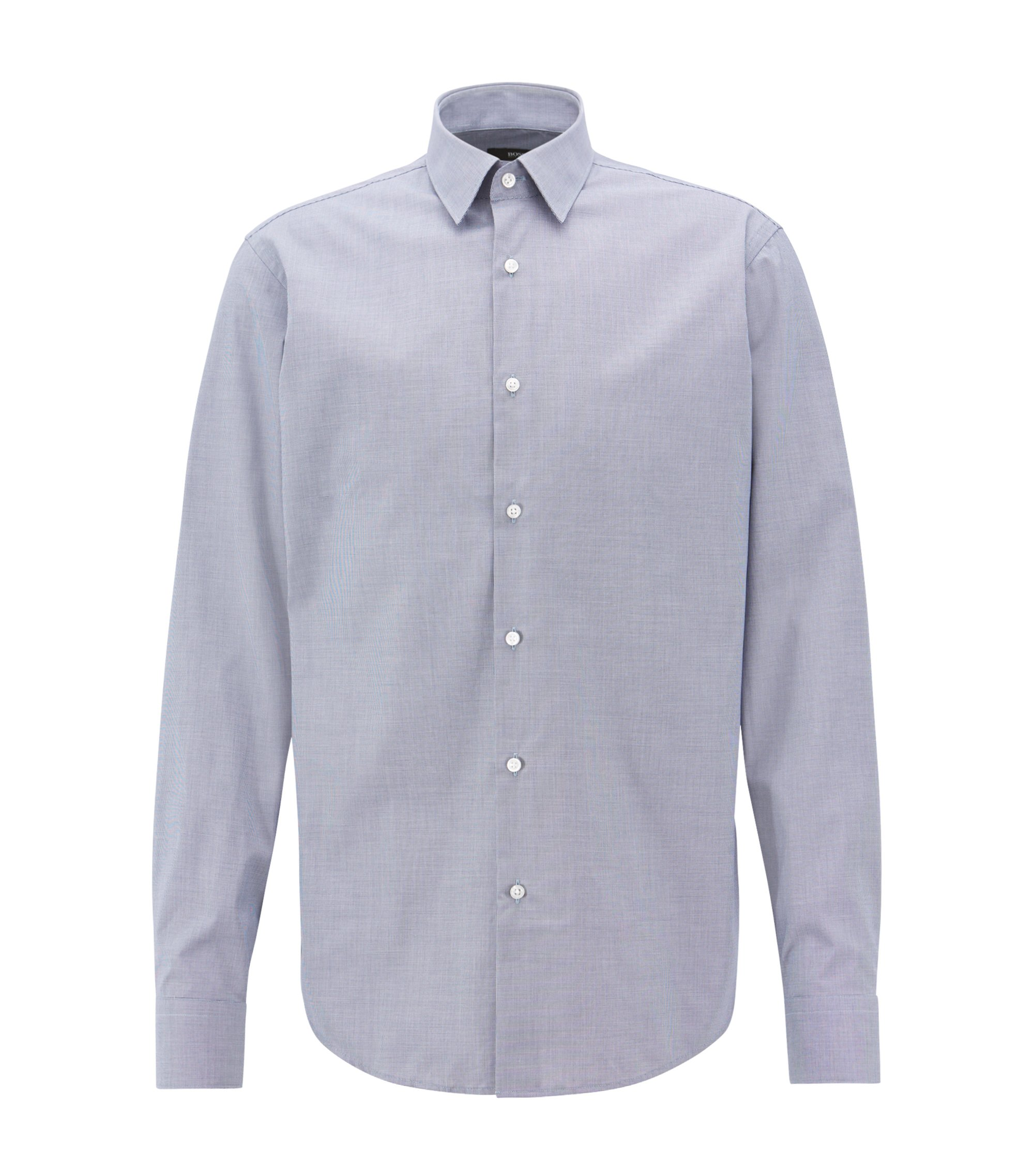 Camicia regular fit con micro-motivo e finitura facile da stirare, Blu scuro