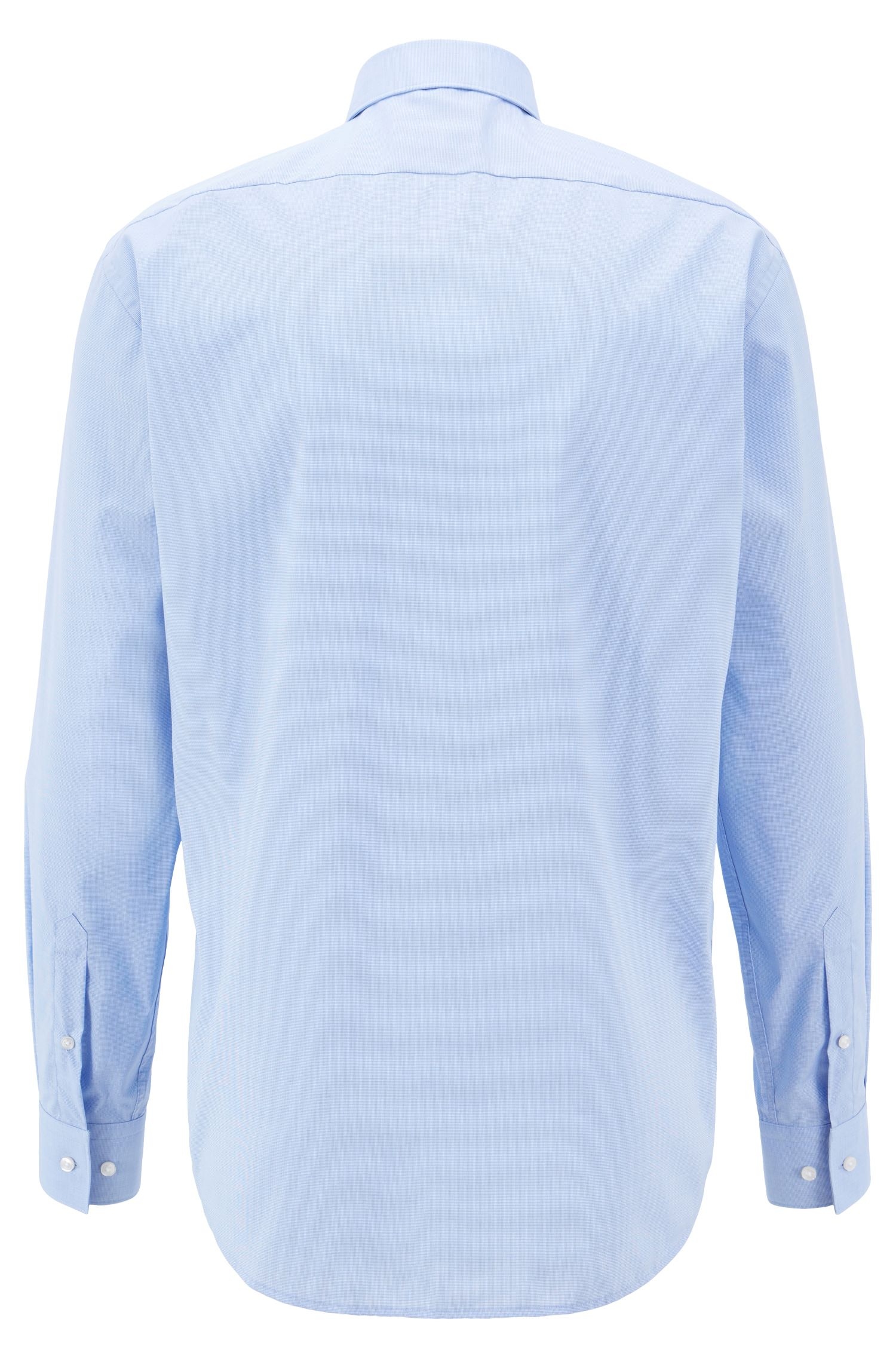Regular-fit micro-pattern shirt with easy-iron finish, Light Blue