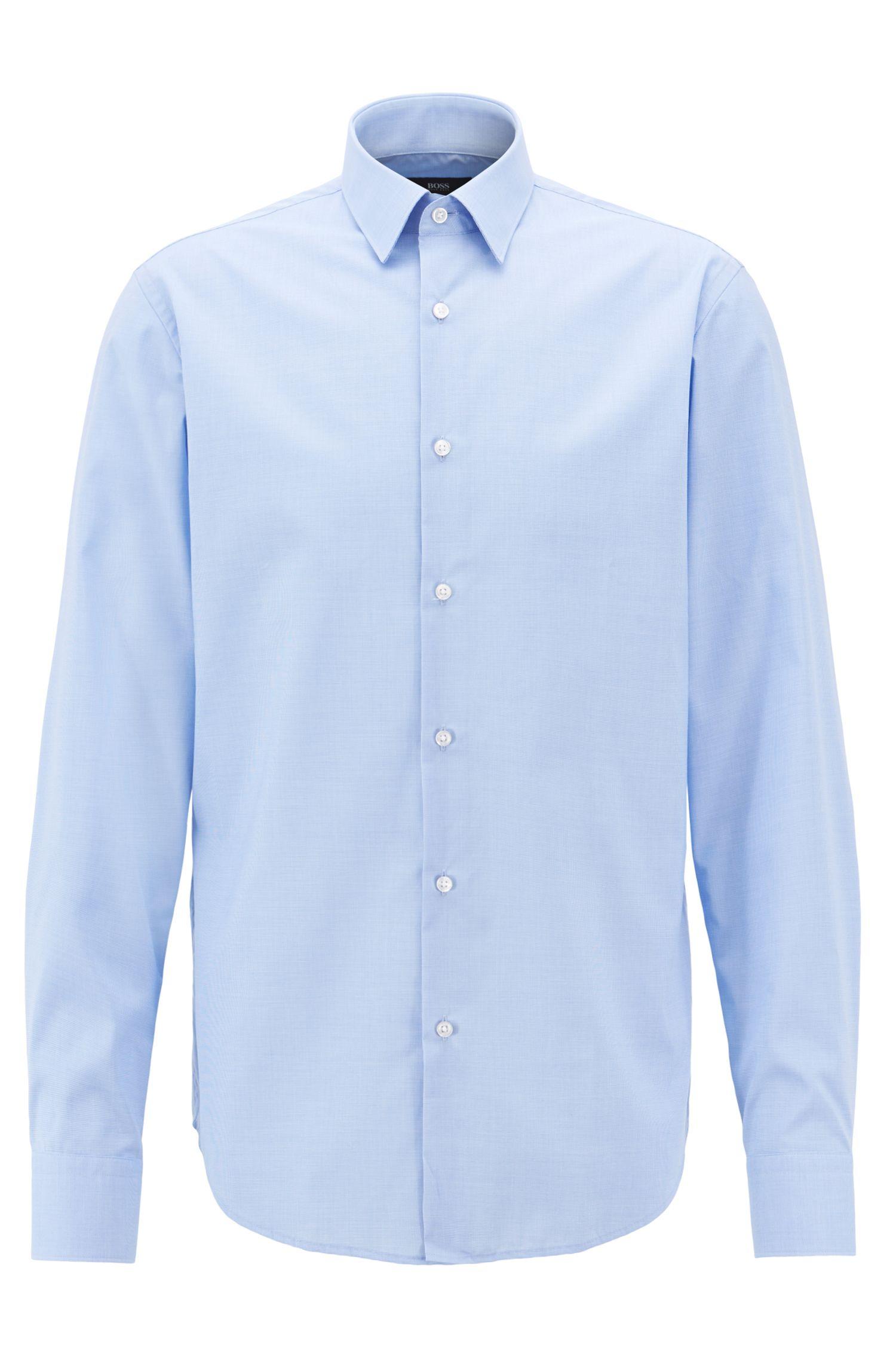 Fein gemustertes Regular-Fit Hemd aus bügelleichter Baumwolle, Hellblau