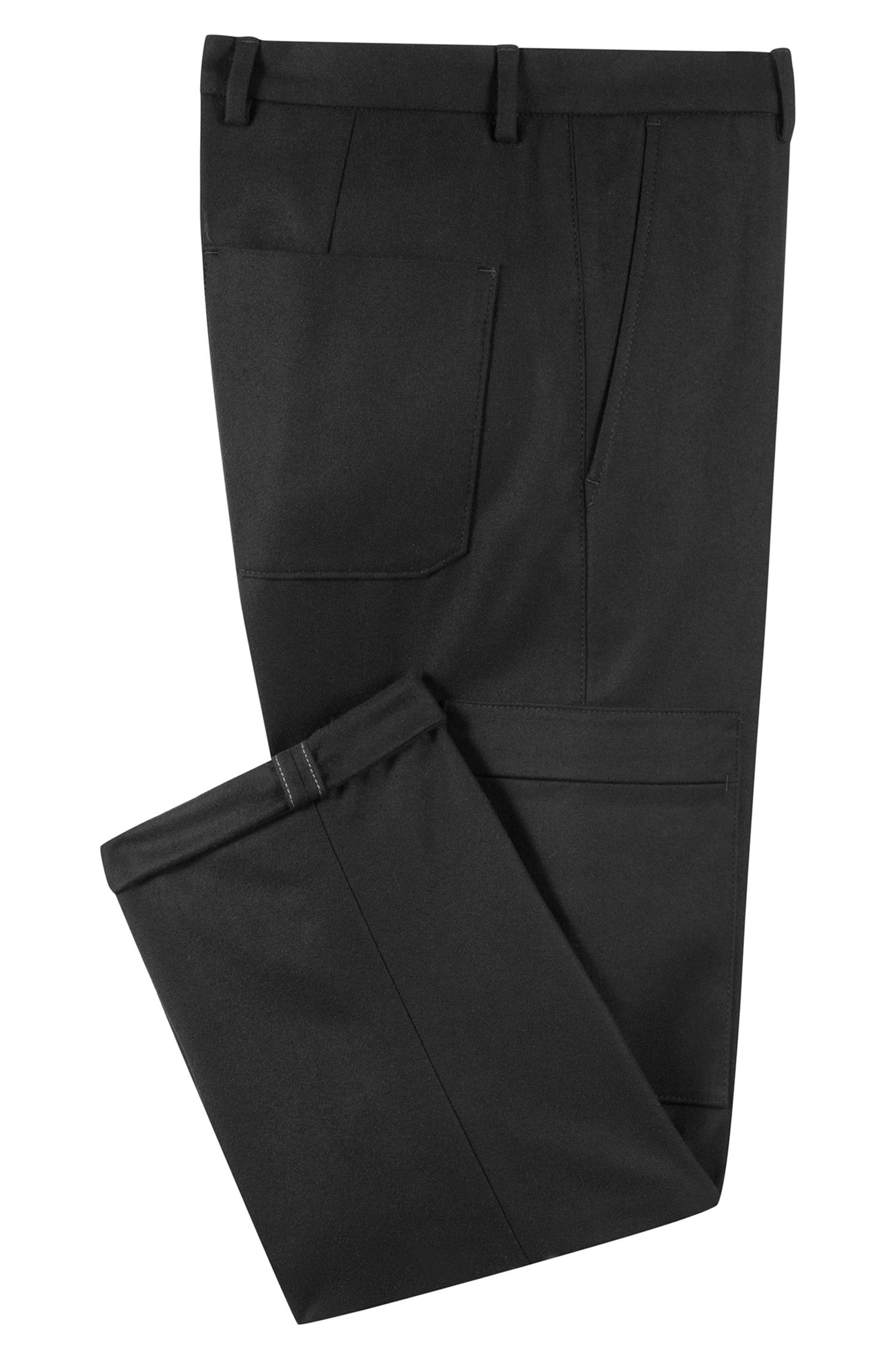 Slim-fit trousers in a felt-effect wool blend