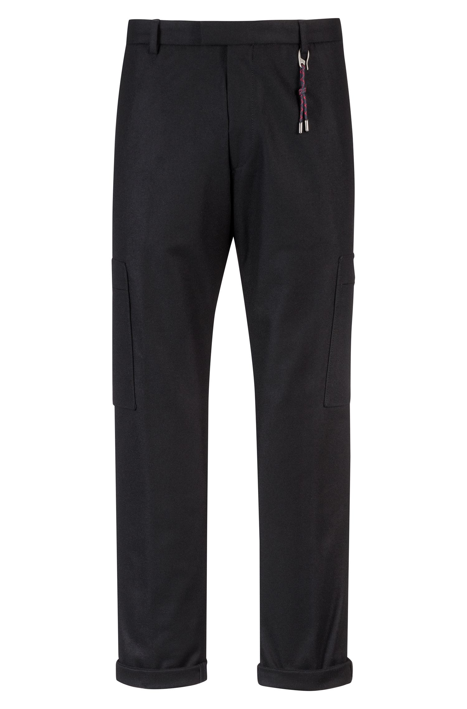Slim-fit trousers in a felt-effect wool blend, Black