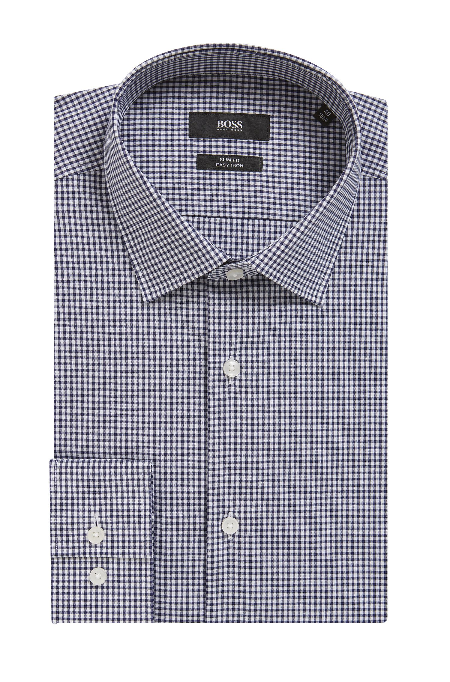 Camicia slim fit a quadri in cotone facile da stirare, Blu scuro