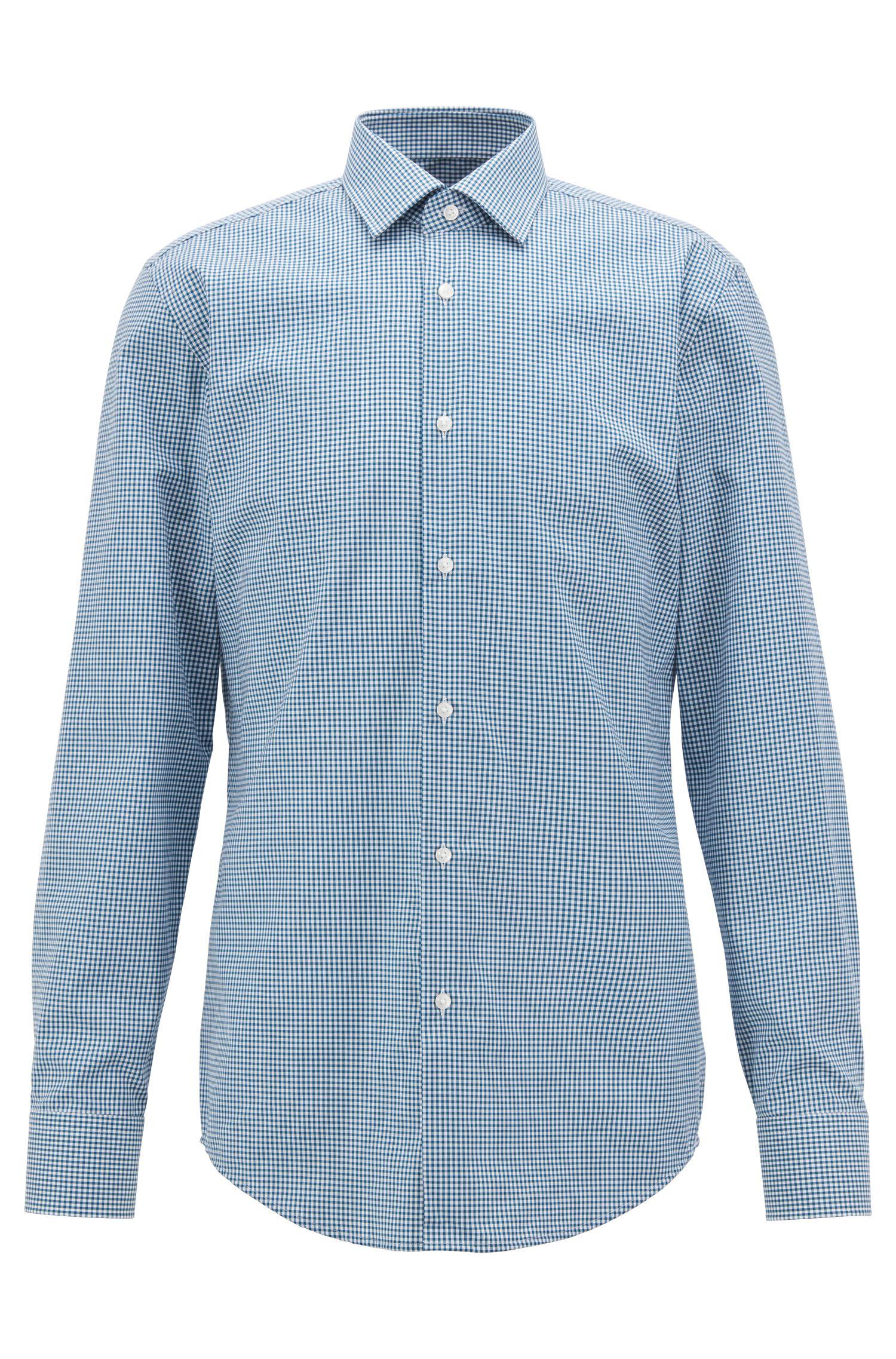 Kariertes Slim-Fit Hemd aus bügelleichter Baumwolle, Türkis