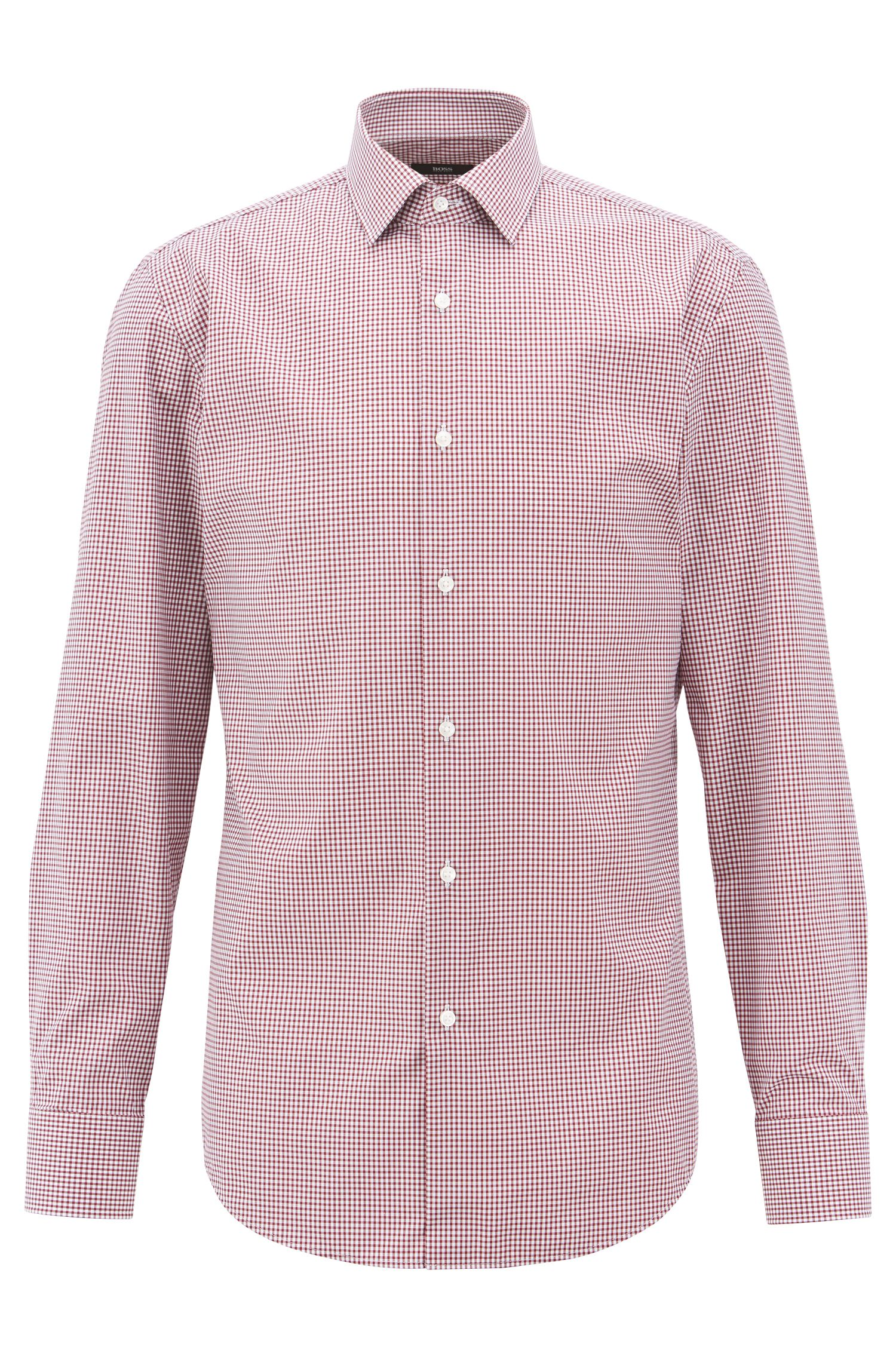Checked slim-fit shirt in easy-iron cotton, Dark Red