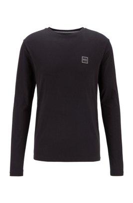 Longsleeve aus gewaschenem Single Jersey mit Aufdruck, Schwarz