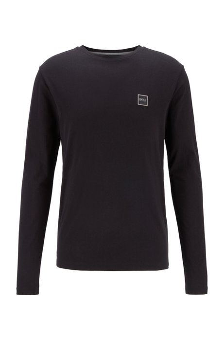 Long-sleeved T-shirt in washed single-jersey cotton, Black