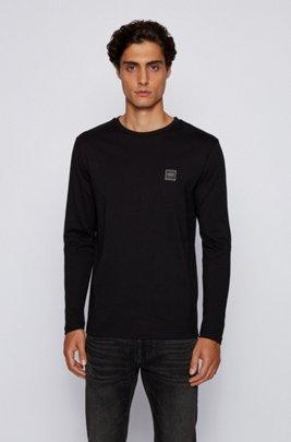 長袖Tシャツ シングルジャージー ウォッシュドコットン , ブラック