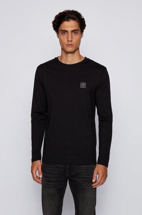 Camiseta de manga larga en punto de algodón sencillo lavado, Negro