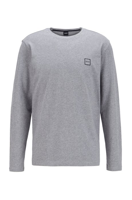Long-sleeved T-shirt in washed single-jersey cotton, Light Grey