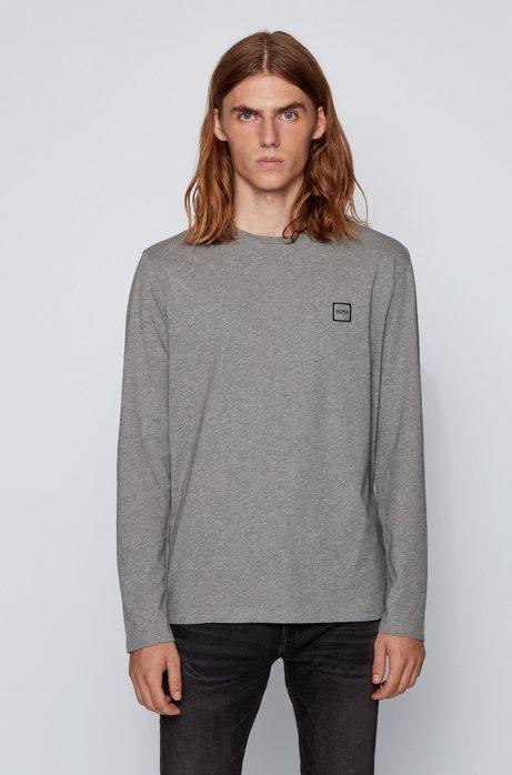 Camiseta de manga larga en punto de algodón sencillo lavado, Gris claro