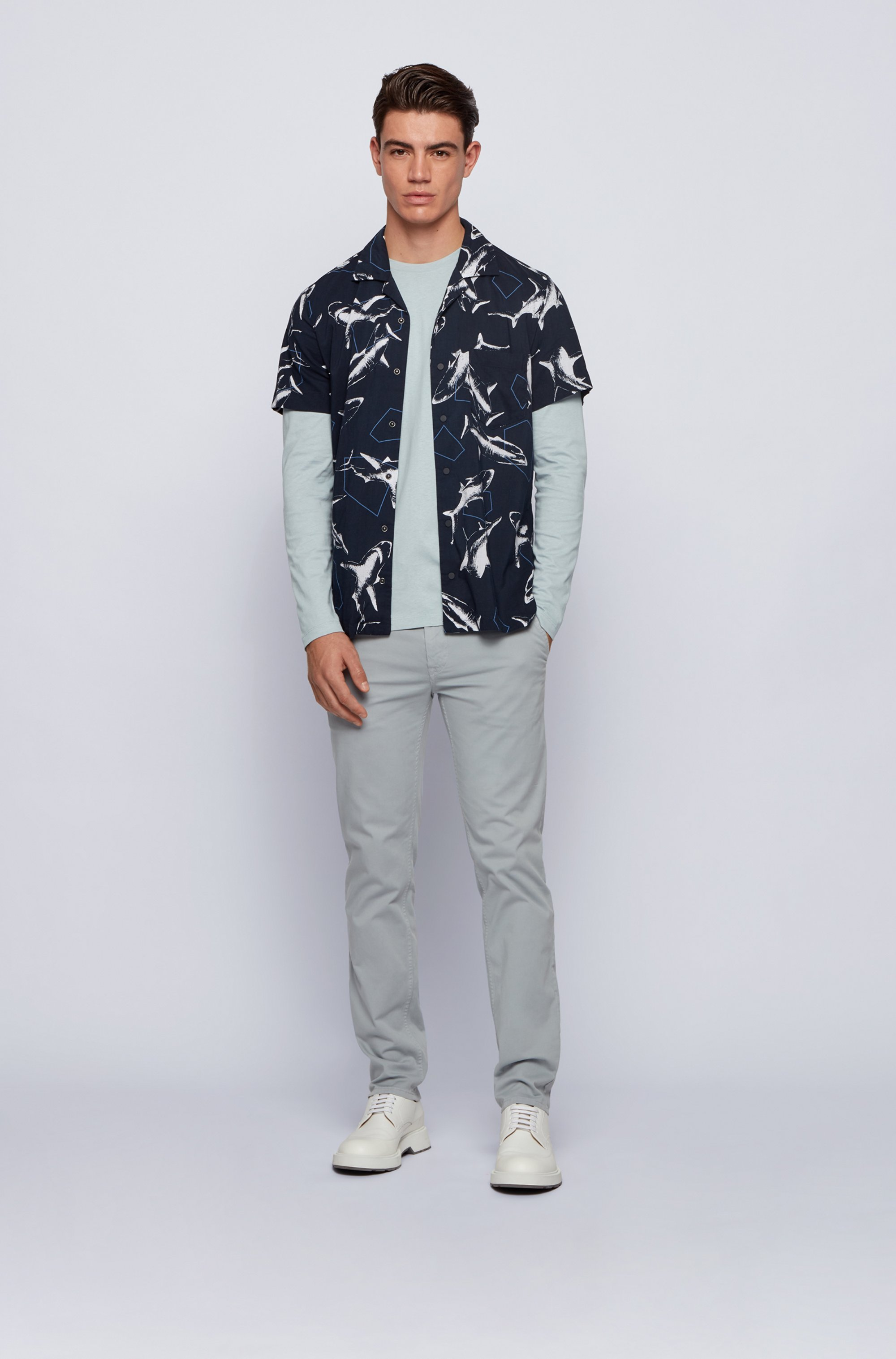 Long-sleeved T-shirt in washed single-jersey cotton