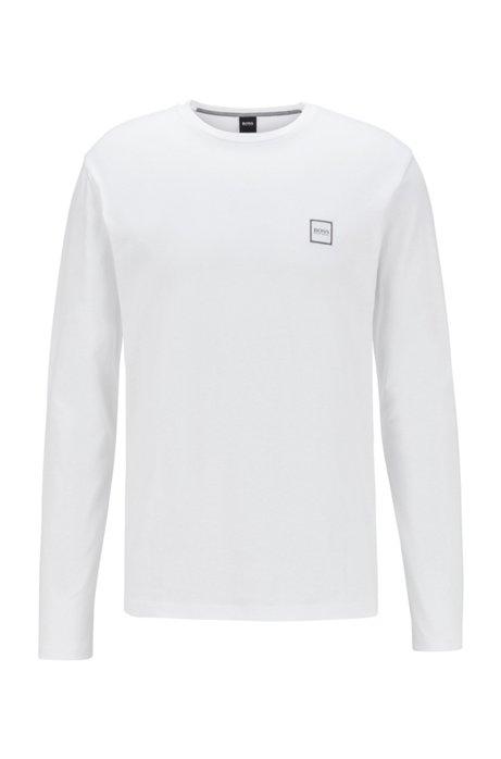 T-shirt à manches longues en jersey simple de coton lavé, Blanc