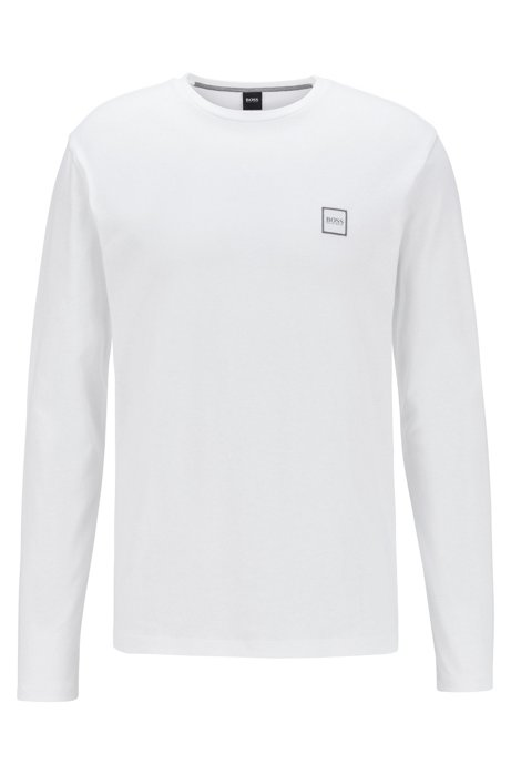T-shirt à manches longues en jersey simple de coton lavé, Blanc