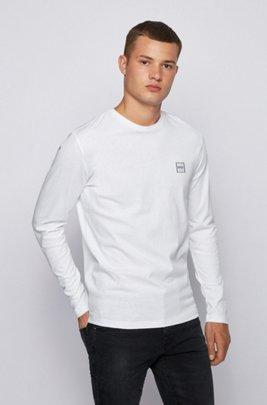 T-shirt a maniche lunghe in jersey di cotone con effetto slavato, Bianco