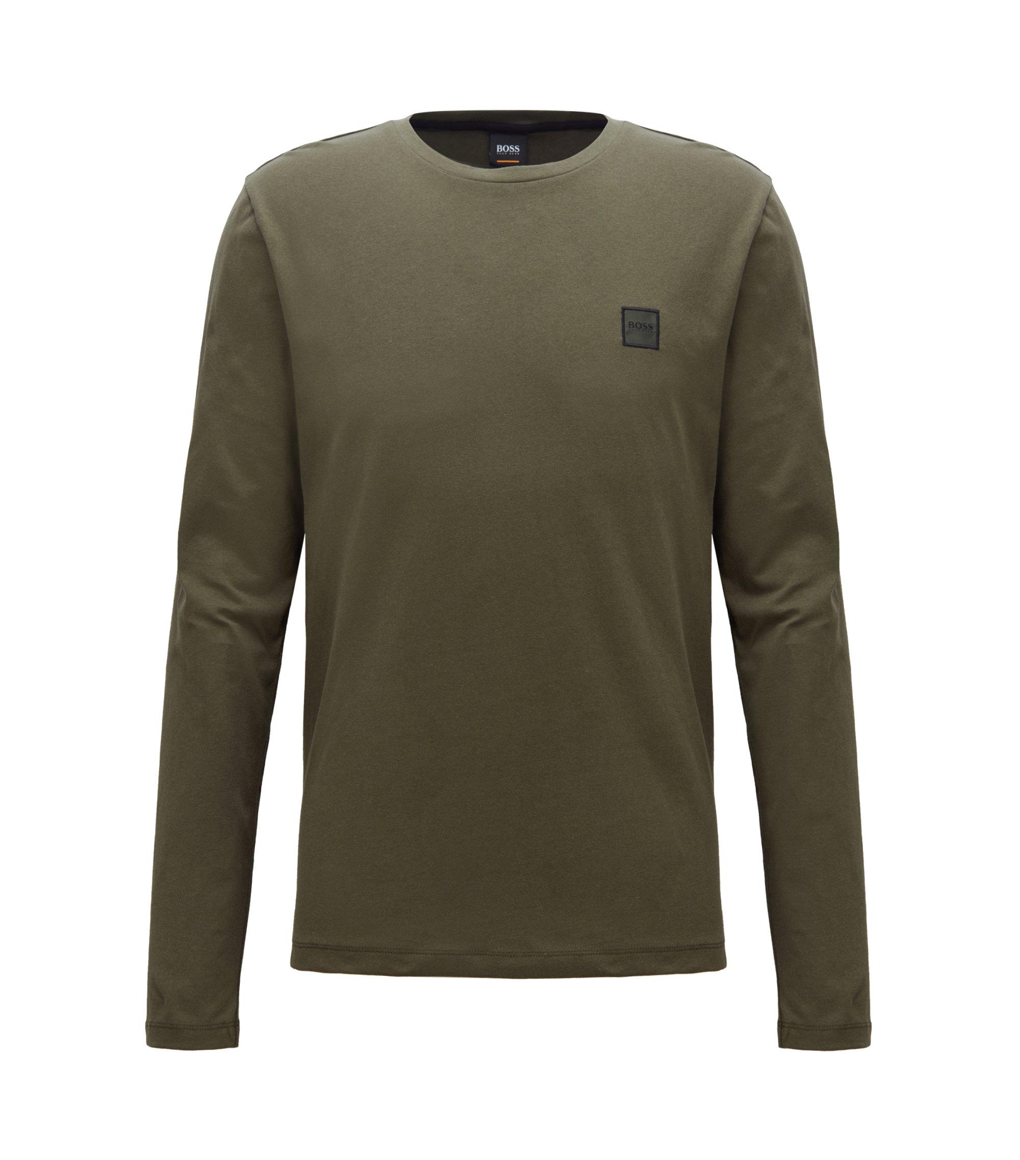 T-shirt van single-jersey van gewassen katoen met lange mouwen, Donkergroen