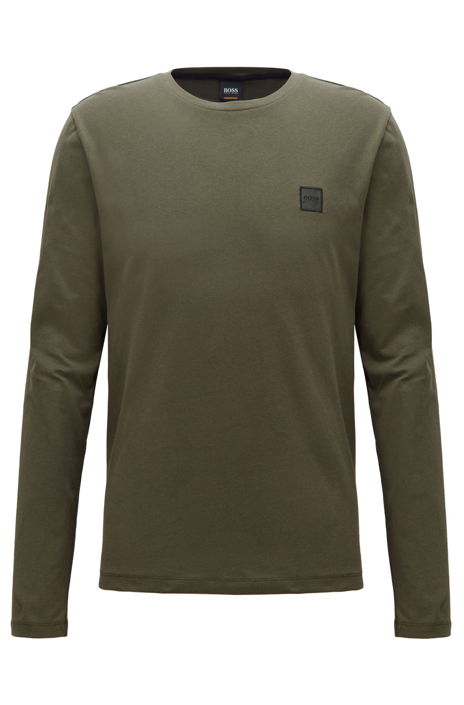 Long-sleeved T-shirt in washed single-jersey cotton, Dark Green