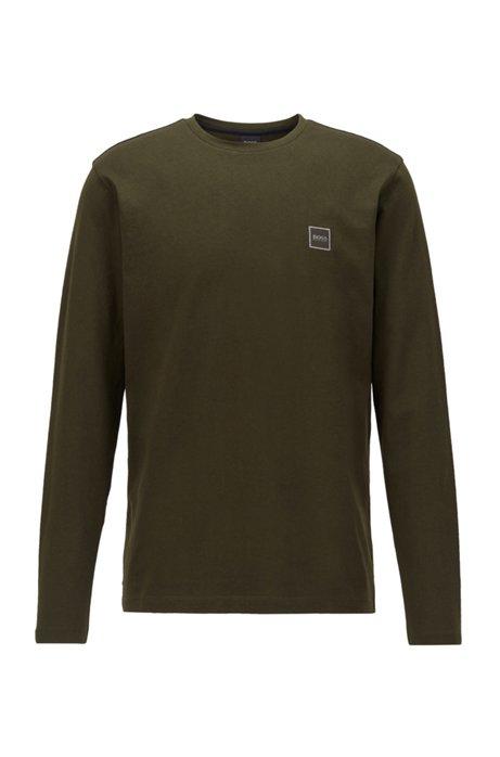 Longsleeve aus gewaschenem Single Jersey mit Aufdruck, Hellgrün