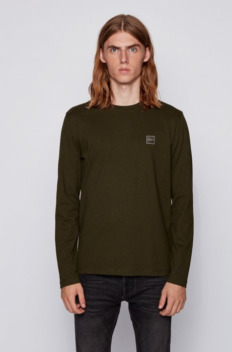 Long-sleeved T-shirt in washed single-jersey cotton, Light Green