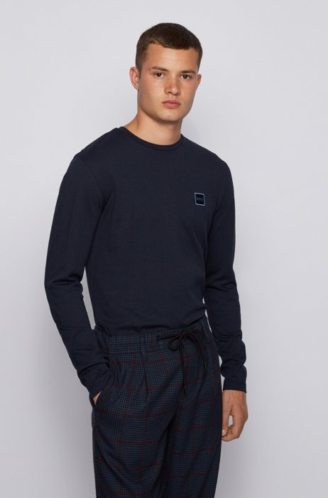 Long-sleeved T-shirt in washed single-jersey cotton, Dark Blue