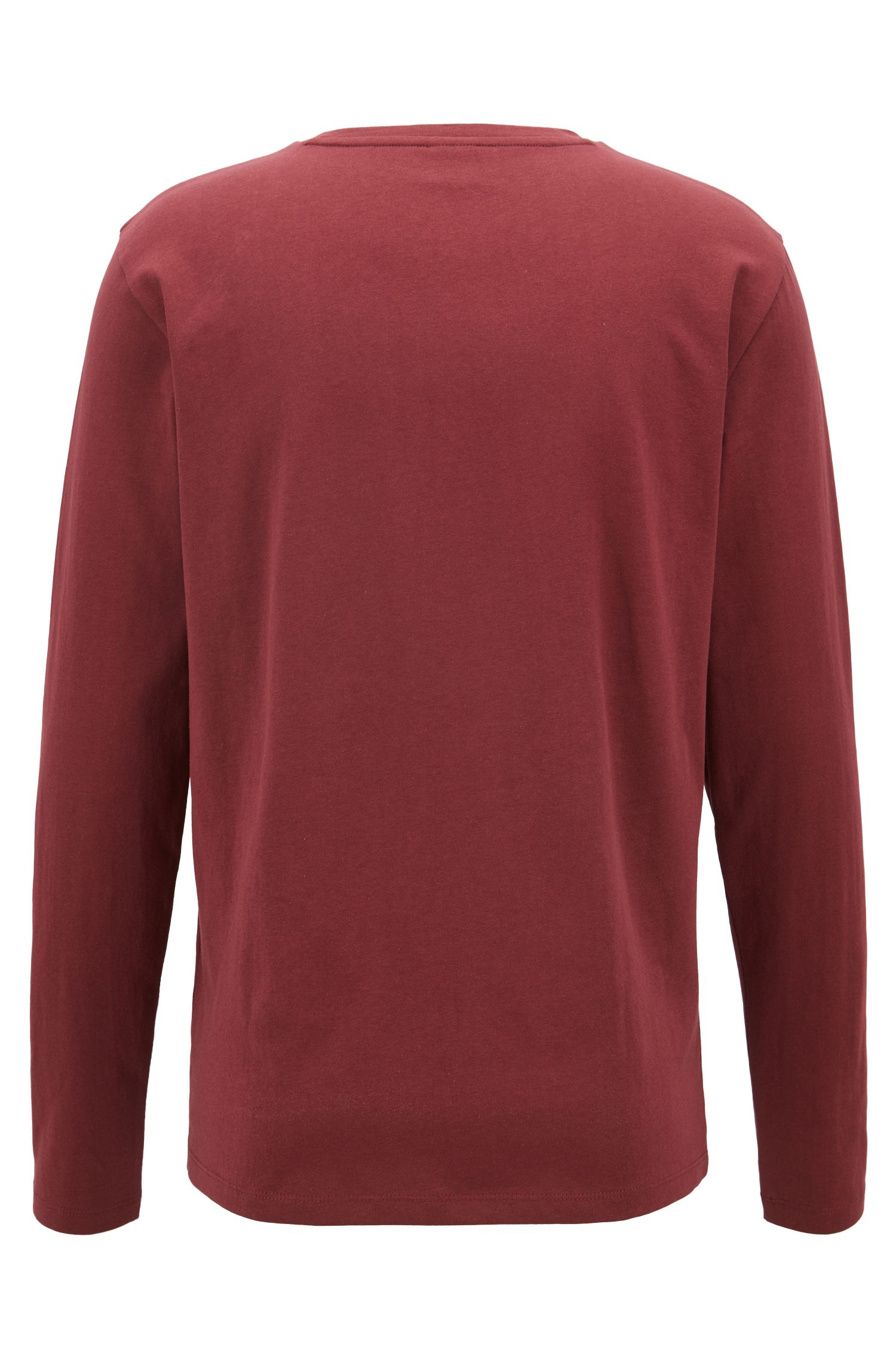 Long-sleeved T-shirt in washed single-jersey cotton, Dark Red