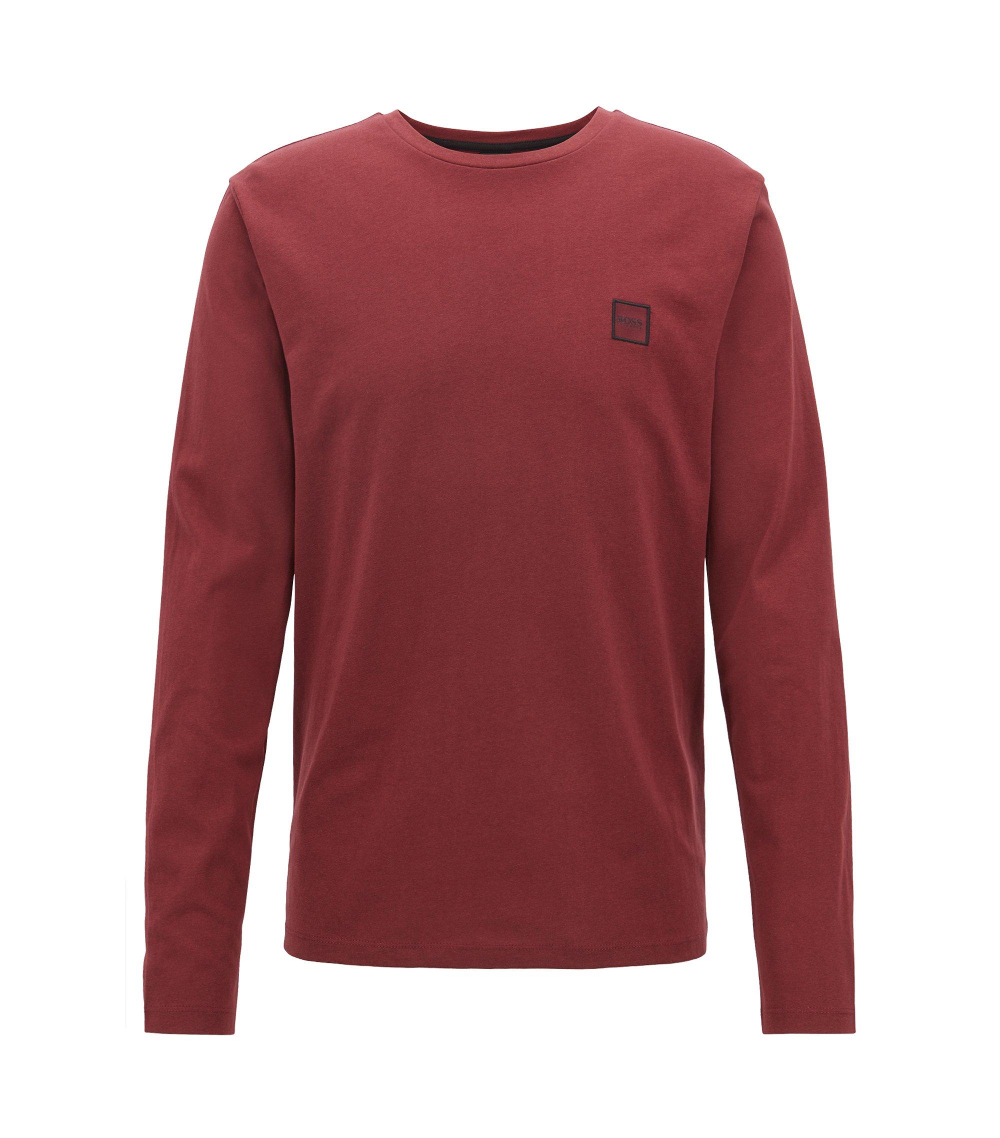 T-shirt van single-jersey van gewassen katoen met lange mouwen, Donkerrood