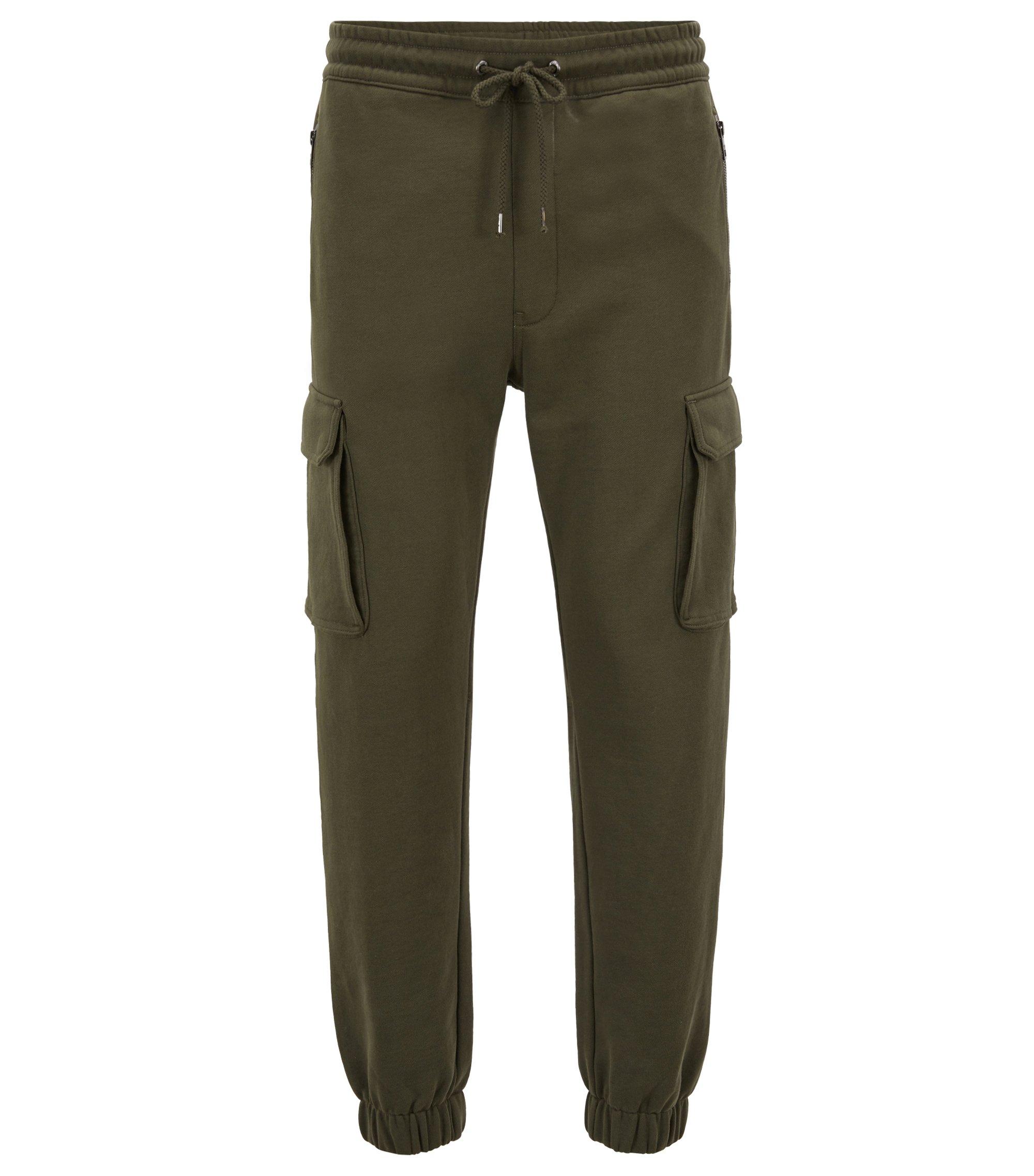 Regular-Fit Hose im Cargo-Stil aus French Terry mit Beinbündchen, Dunkelgrün