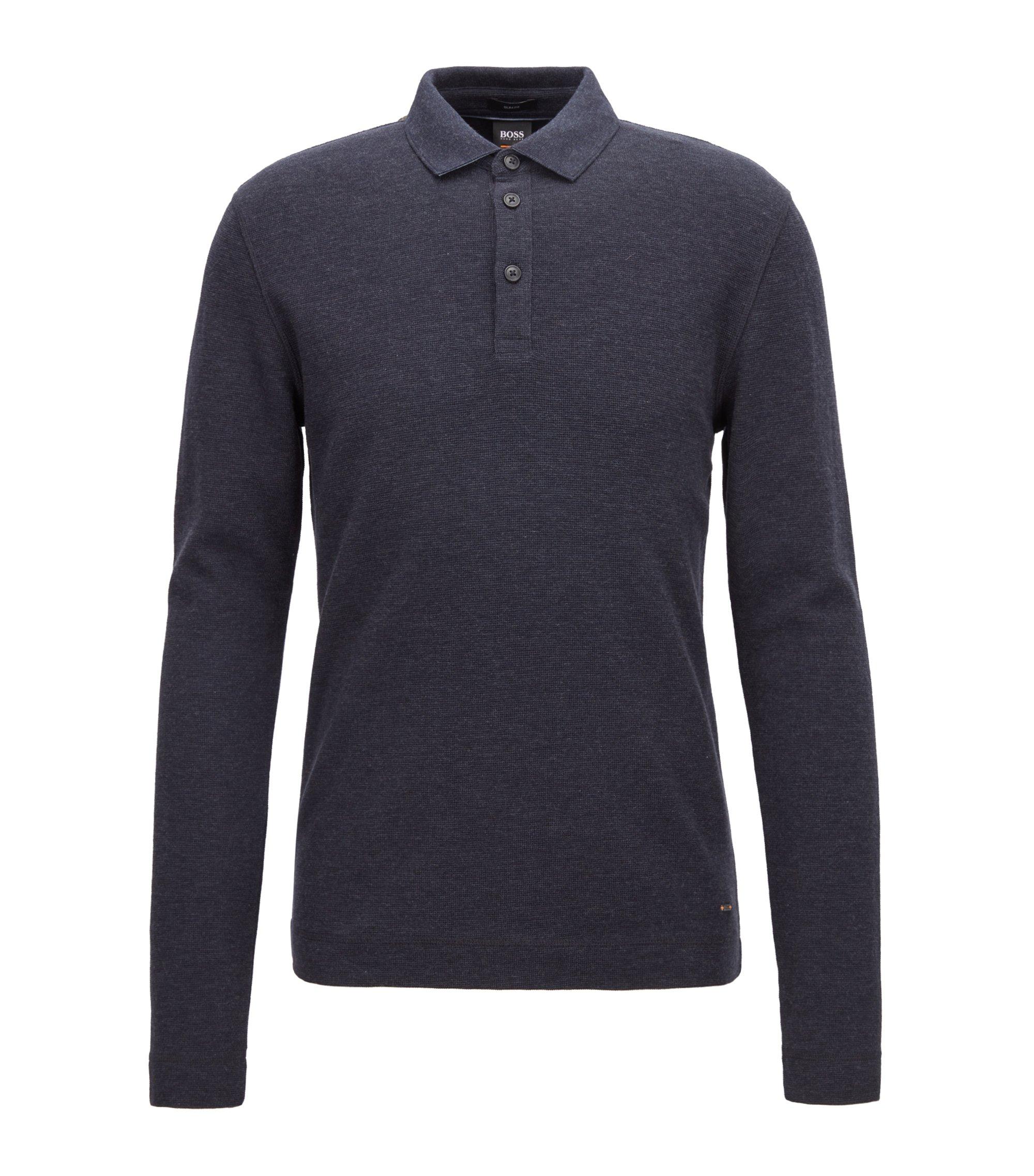 Polo à manches longues en coton chiné à effet gaufré, Bleu foncé