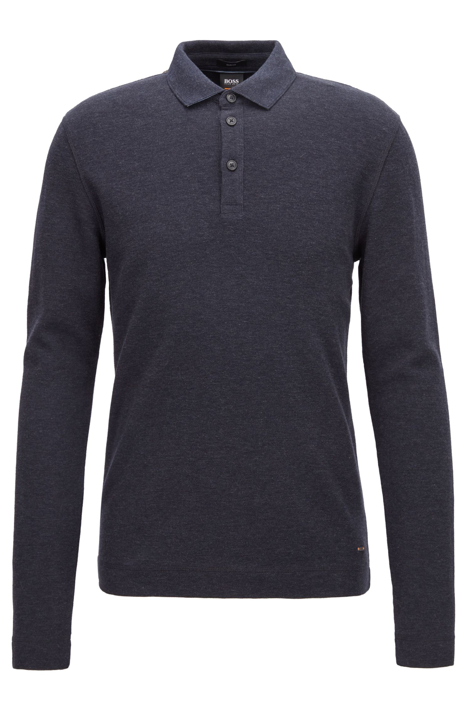 Long-sleeved polo shirt in heathered waffle-effect cotton, Dark Blue