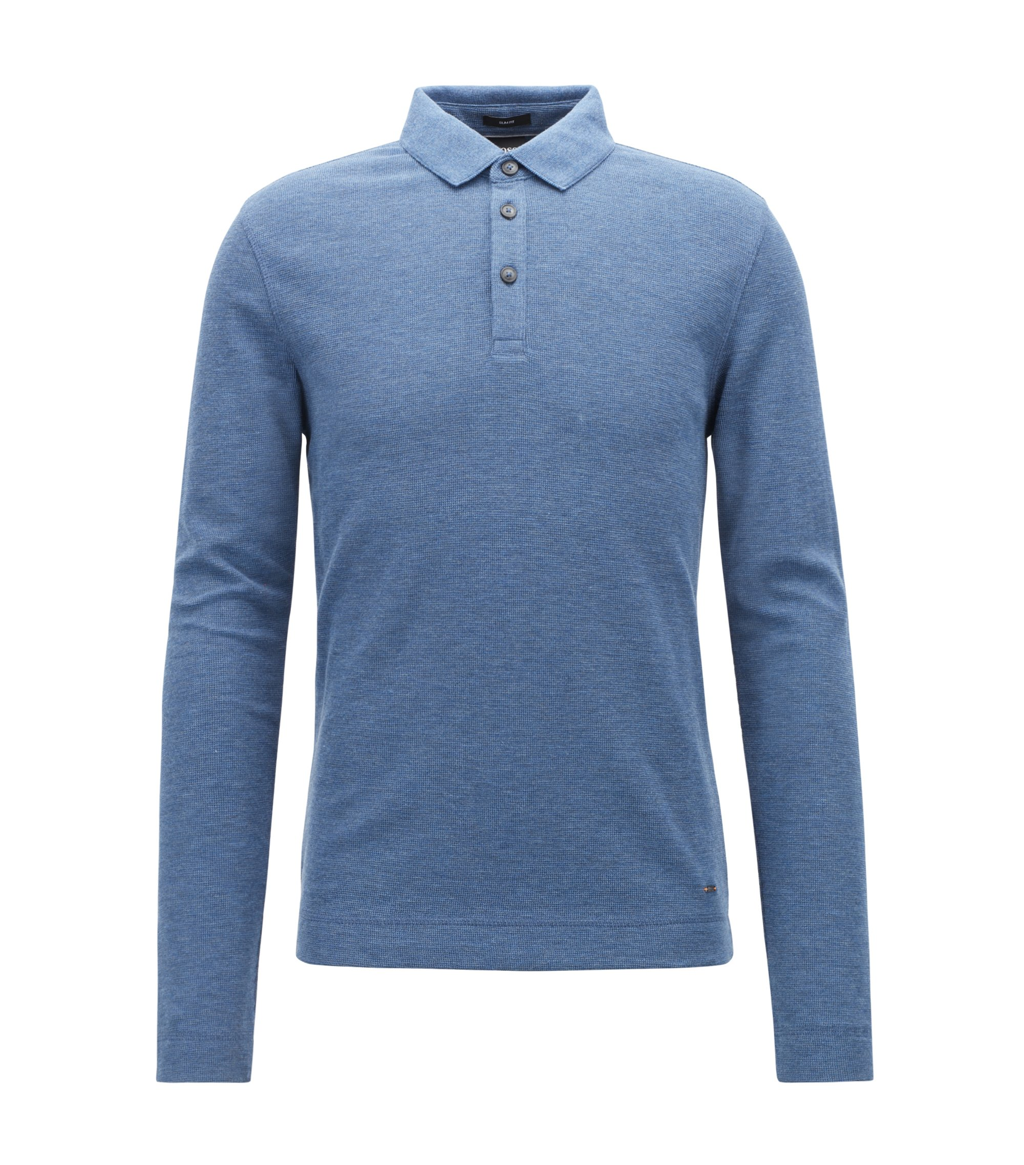 Long-sleeved polo shirt in heathered waffle-effect cotton, Open Blue