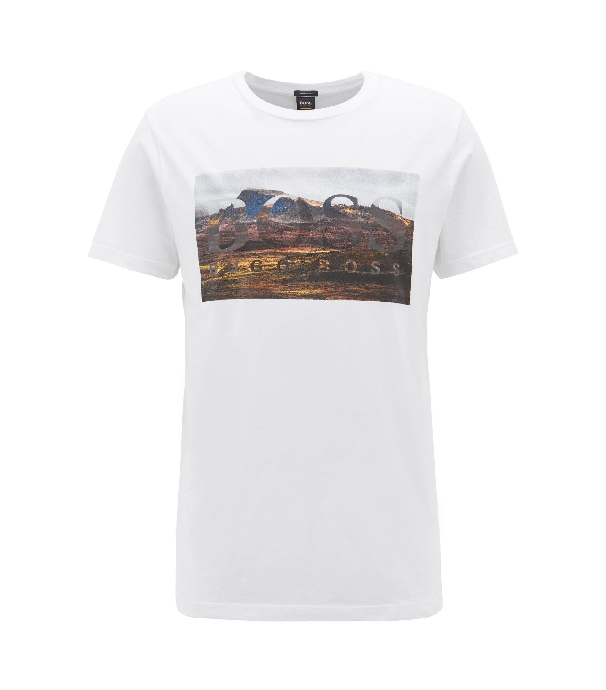 Camiseta gráfica de cuello redondo en algodón Pima lavado, Blanco