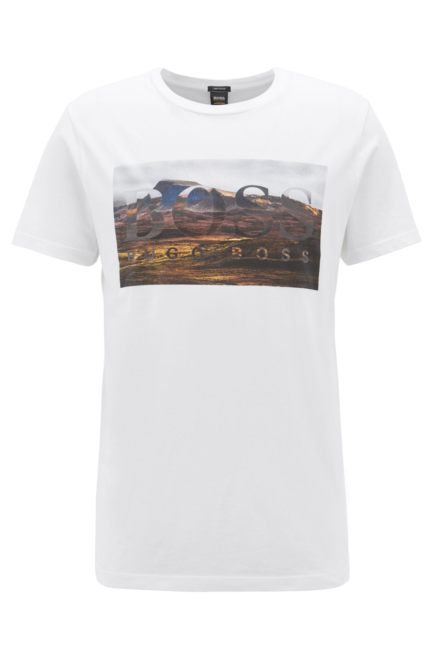 T-shirt à col ras-du-cou en coton Pima lavé orné d'un motif, Blanc