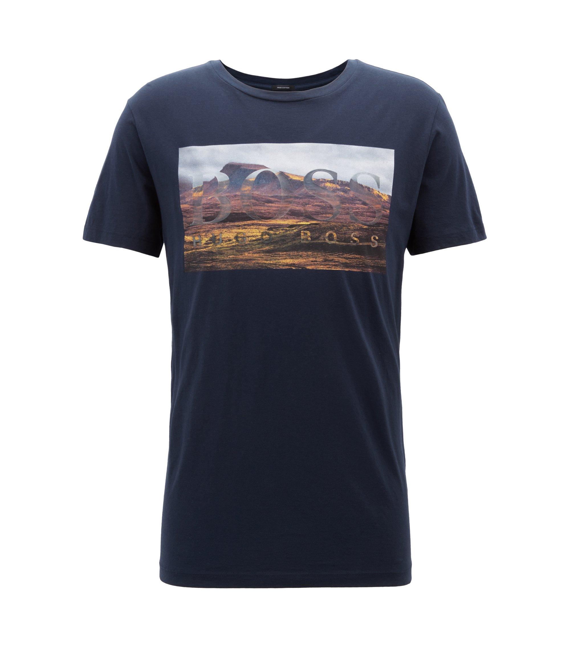 Grafisch T-shirt van gewassen pimakatoen met ronde hals, Donkerblauw