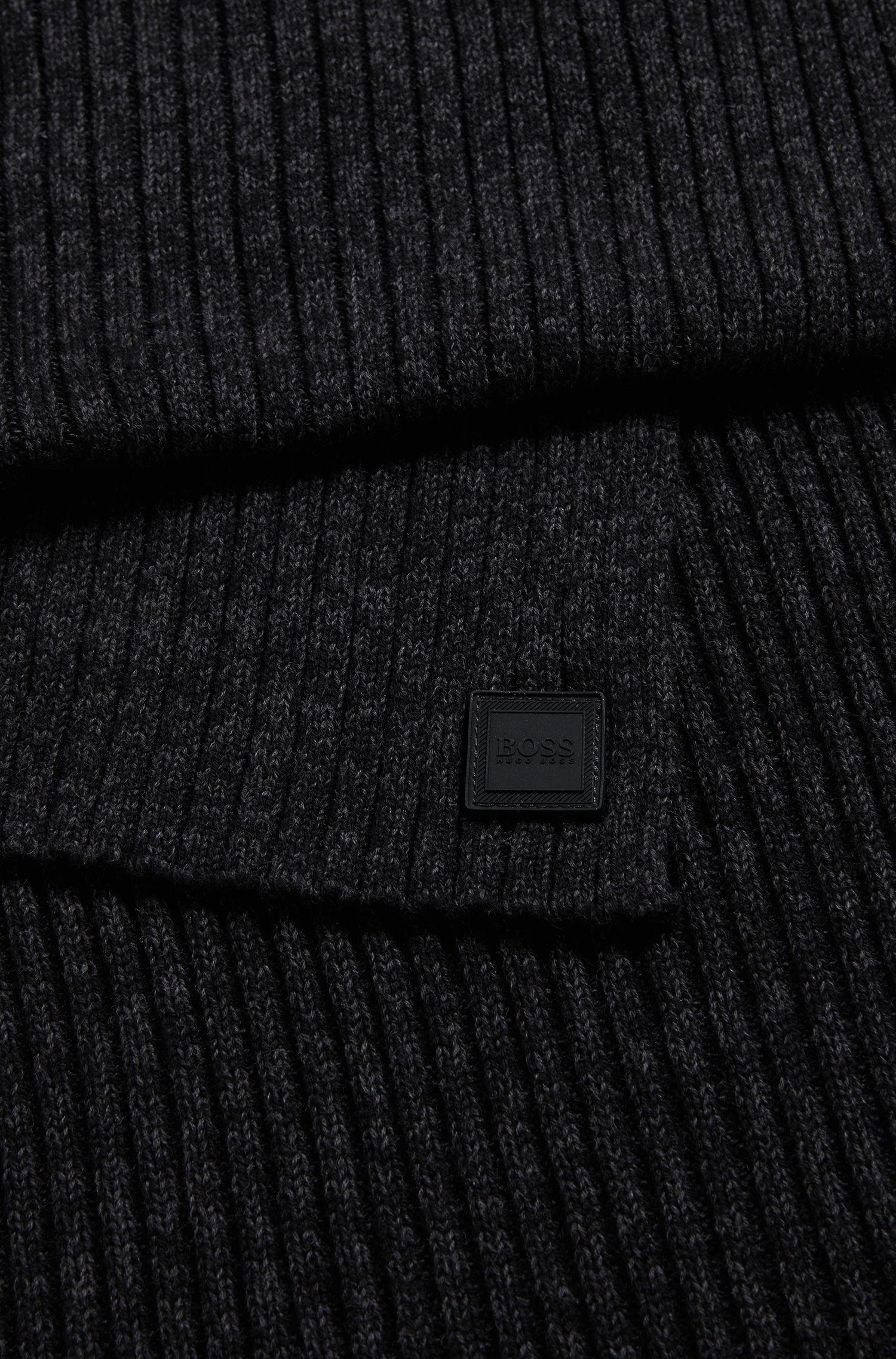 Écharpe côtelée en coton mélangé mouliné, Noir