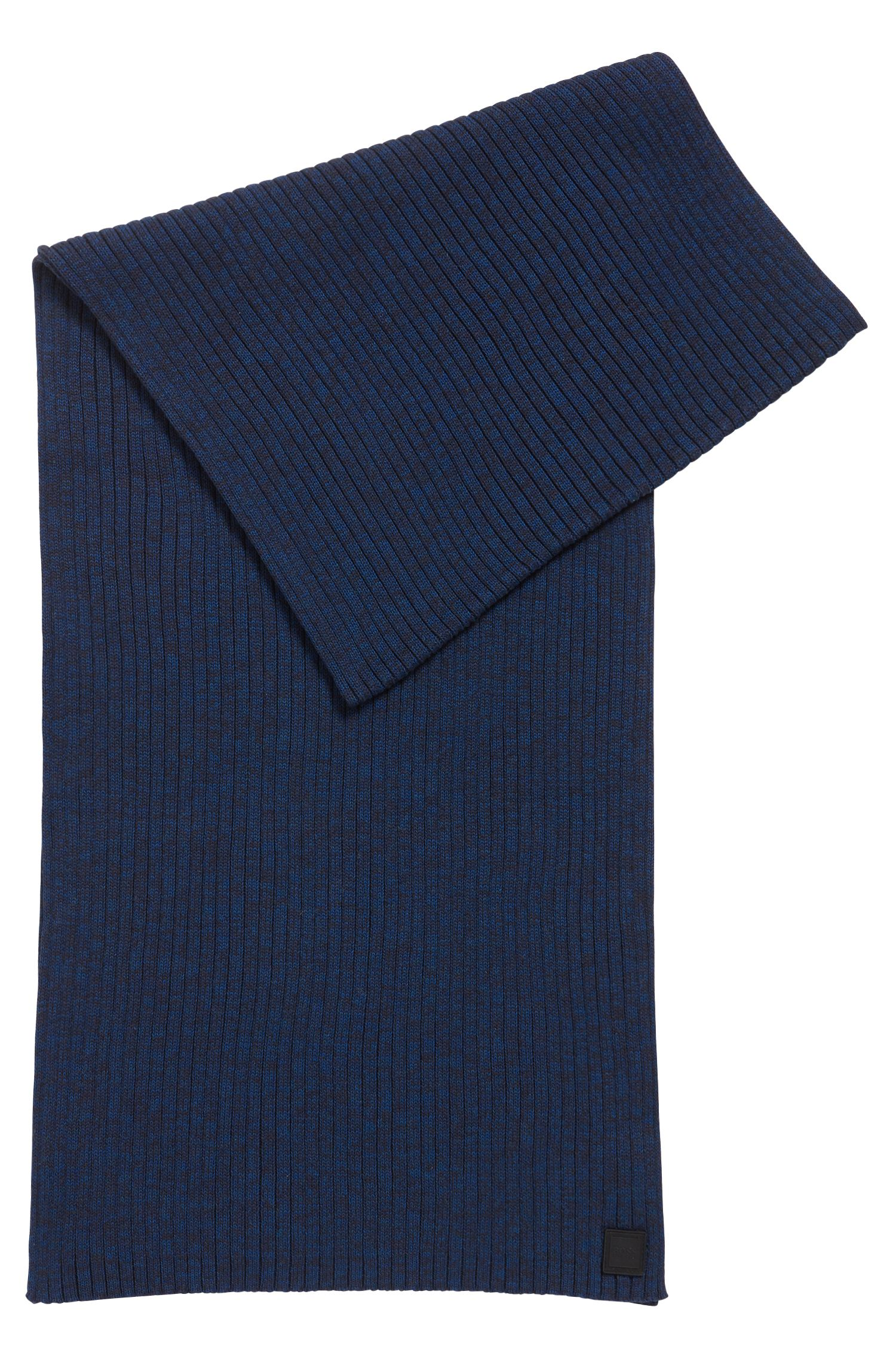 Ribbed scarf in a mouliné cotton blend, Dark Blue